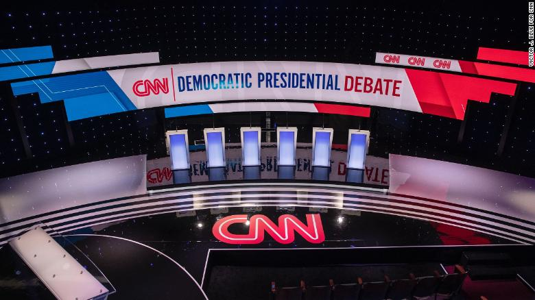 The Democratic debate stage in Des Moines, Iowa, on January 14.
