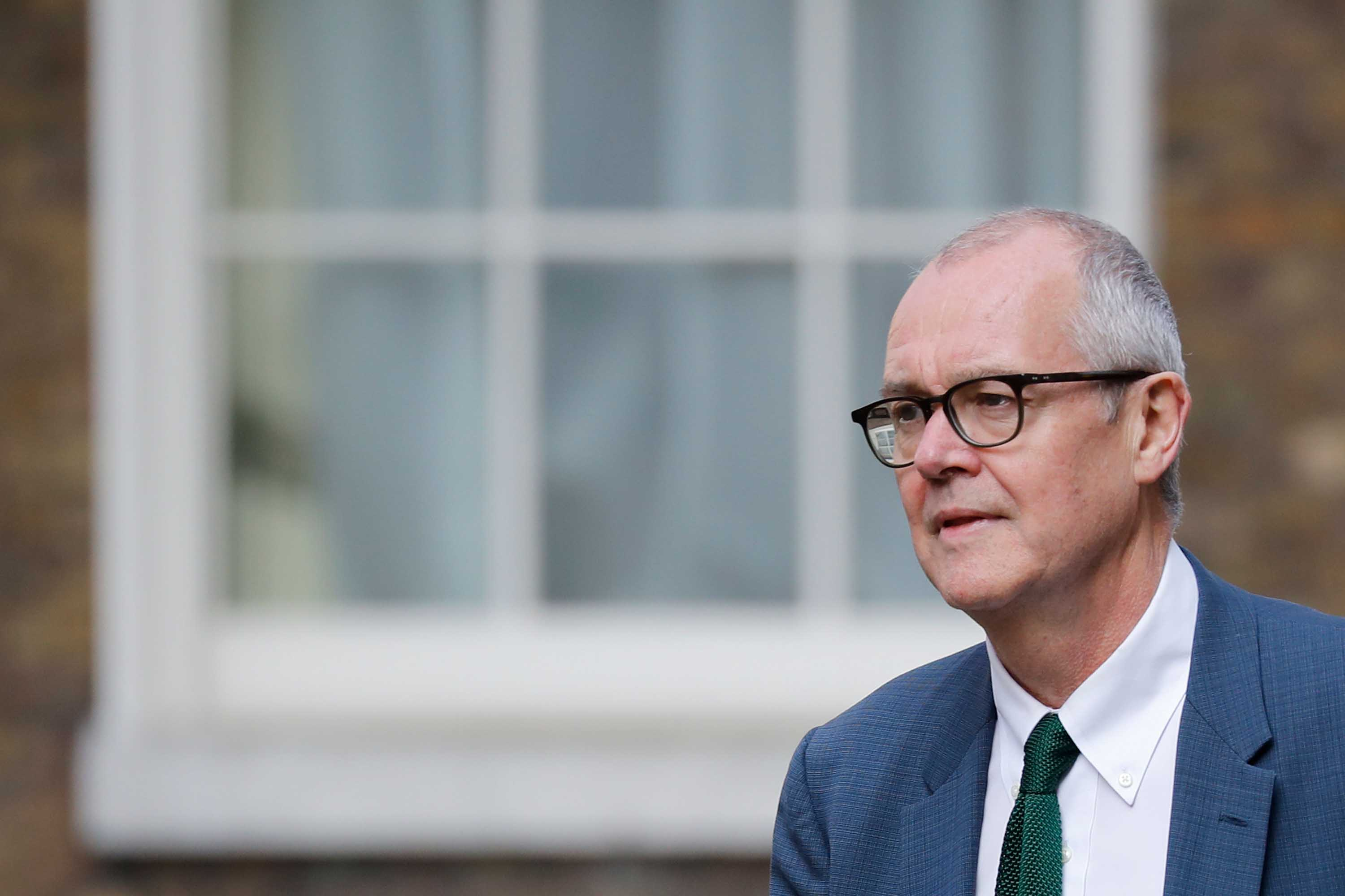 Britain's Chief Scientific Adviser Patrick Vallance arrives at 10 Downing street in London on April 9, to take part in the daily government coronavirus briefing.