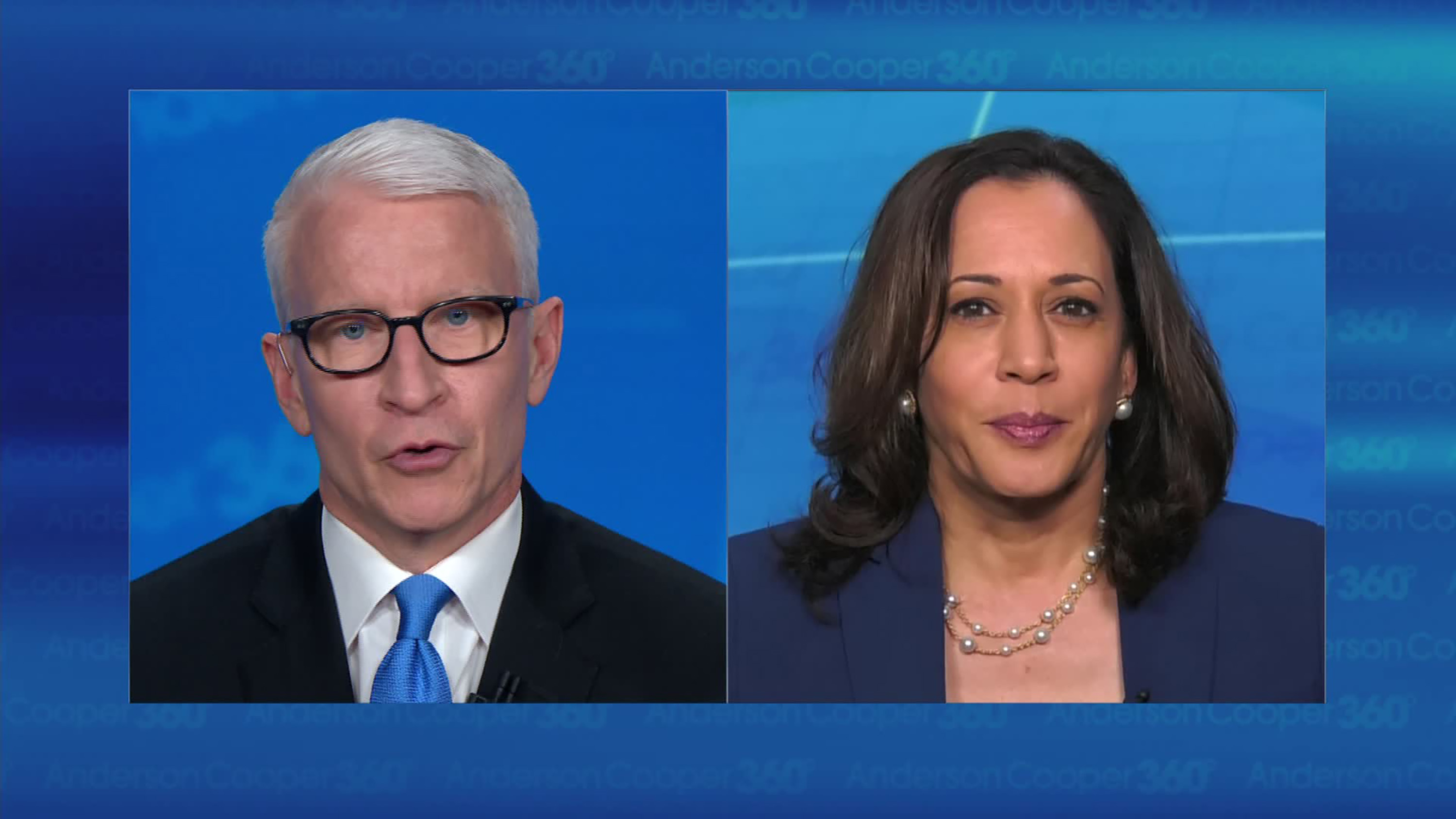 CNN's Anderson Cooper and Sen. Kamala Harris (D-Calif.)