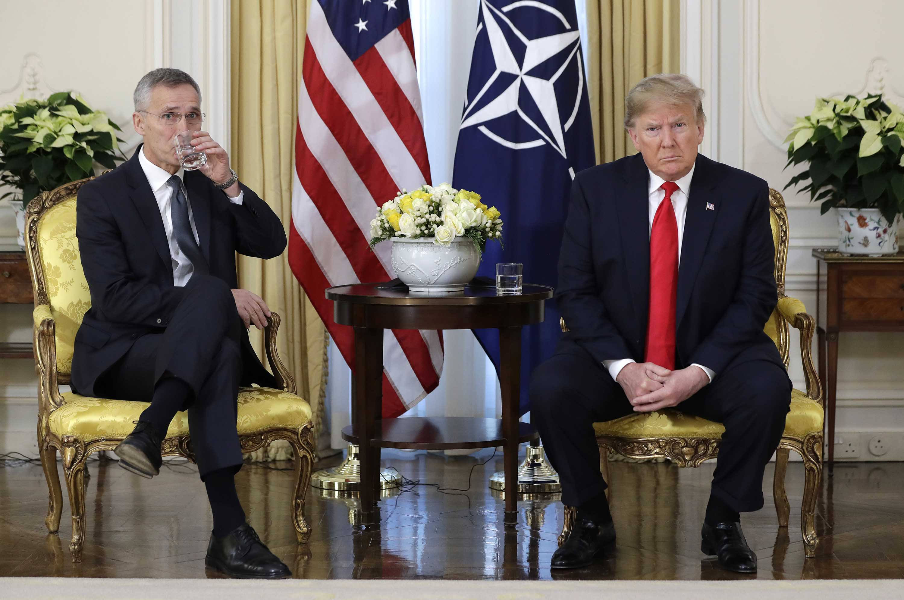 US President Donald Trump meets NATO Secretary General Jens Stoltenberg at Winfield House in London, England, on Tuesday. Photo: Evan Vucci/AP