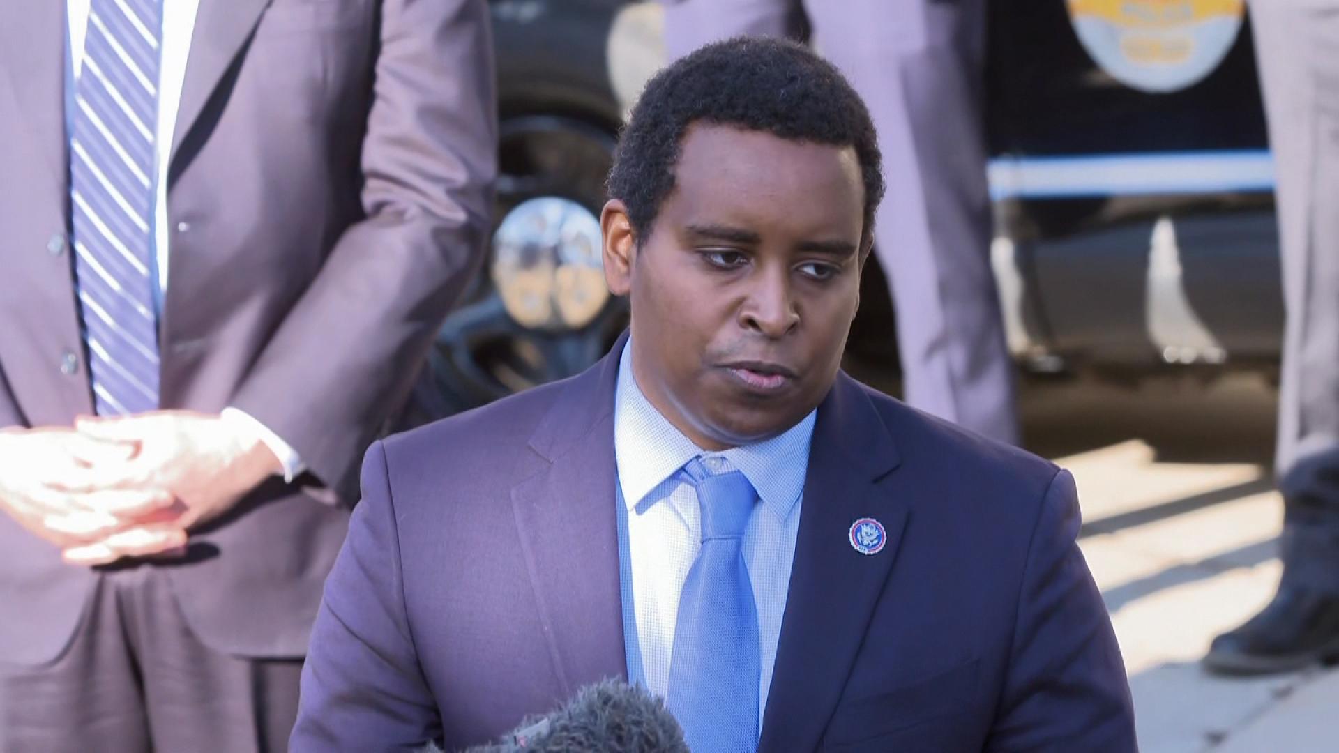 Rep. Joe Neguse, Democrat from Colorado, speaks during a press conference in Boulder, Colorado, on March 23.