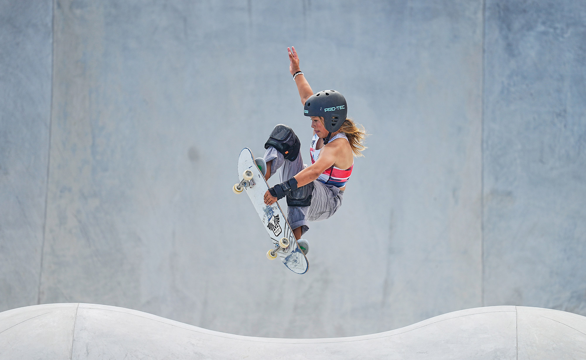 Sky Brown competes inthe park skateboarding finalon August 4. Brown, who at 13 is Great Britain's youngest-ever athlete to compete in the Summer Olympics, won a bronze medal. Japan's Sakura Yosozumi won the gold, and her compatriot Kokona Hiraki won the silver. Hiraki is just 12 years old.