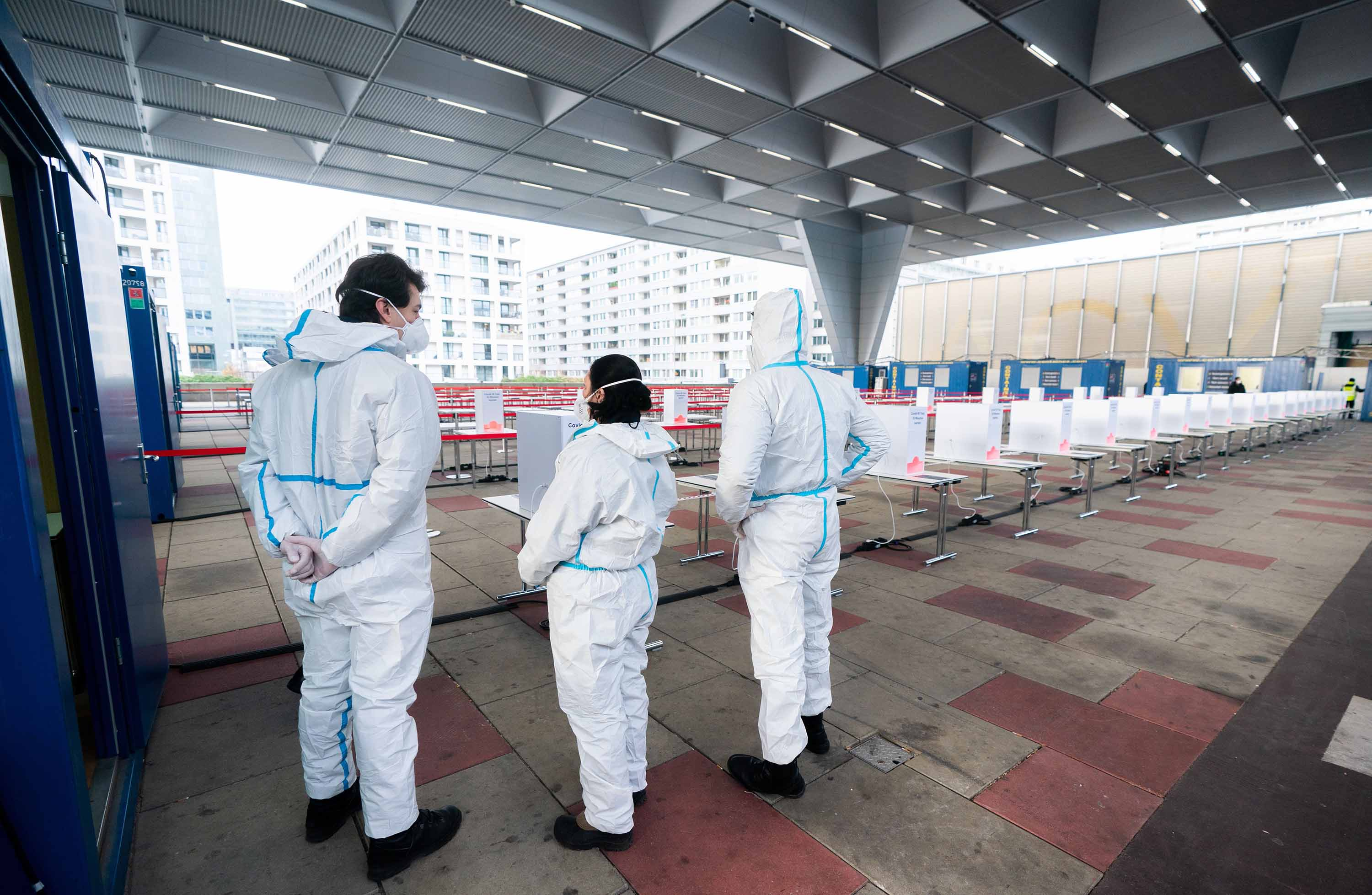 Medical staff at a conference center in Vienna on November 30, where Austria's biggest coronavirus test center has been set up.