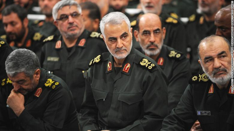 Iranian Quds Force commander Qassem Soleimani (center) was killed by a US airstrike at Baghdad airport.