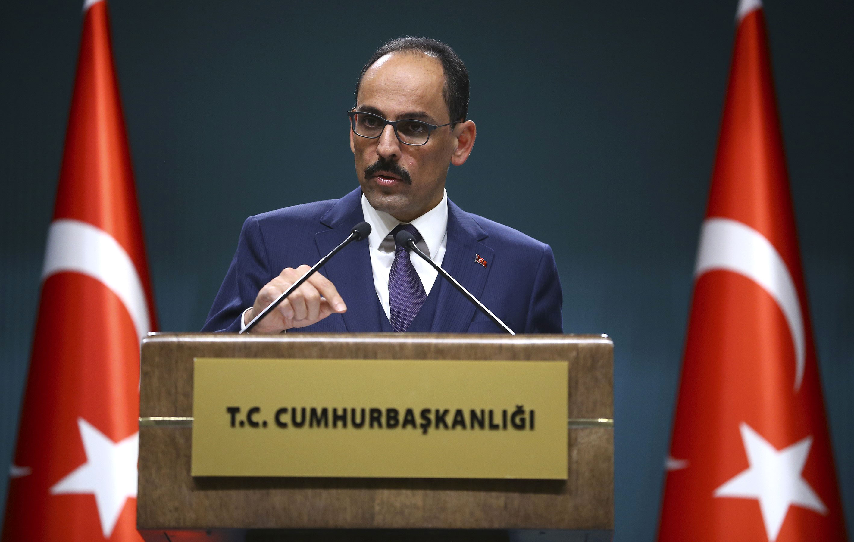 Turkish presidential spokesperson Ibrahim Kalin holds a press conference on December 11, 2019.