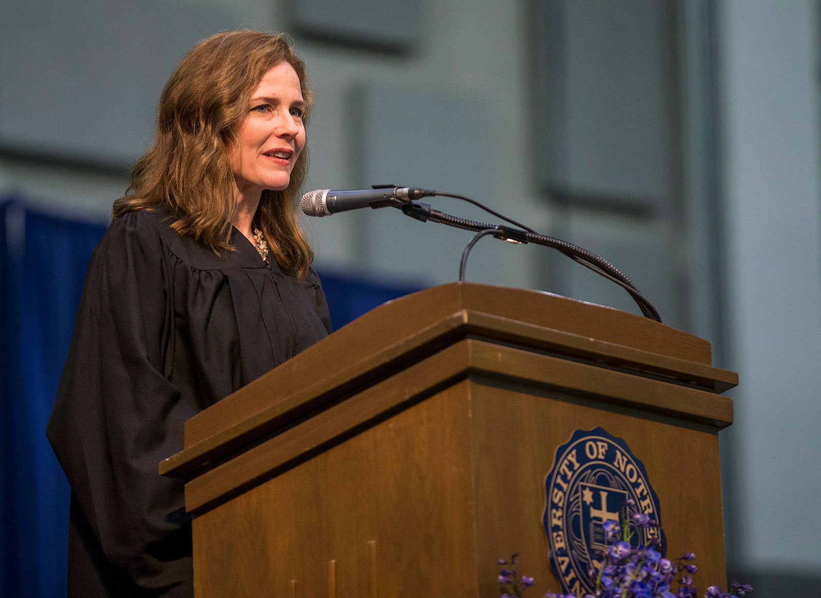 Judge Amy Coney Barrett delivers a speech at the University of Notre Dame's Law School commencement in 2018.