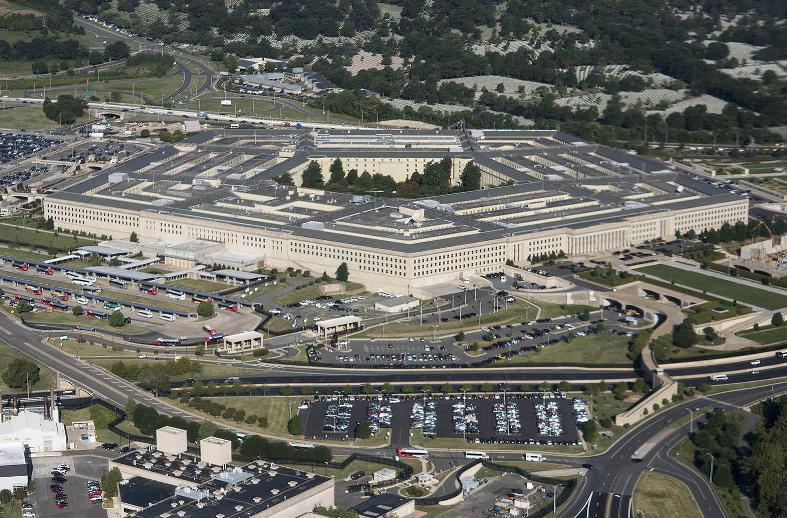 Aerial view of the Pentagon building.