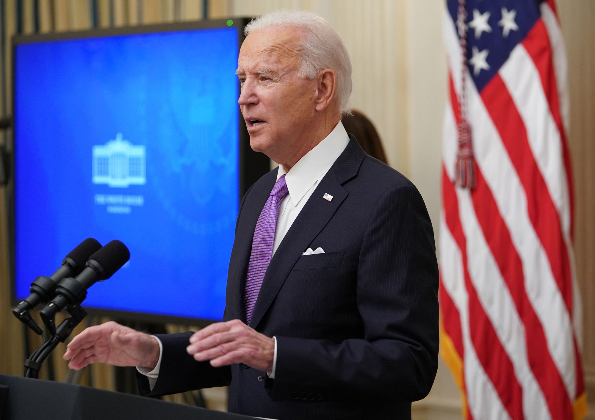 President Joe Biden speaks about the Covid-19 response in the State Dining Room of the White House in Washington, DC, on January 21.