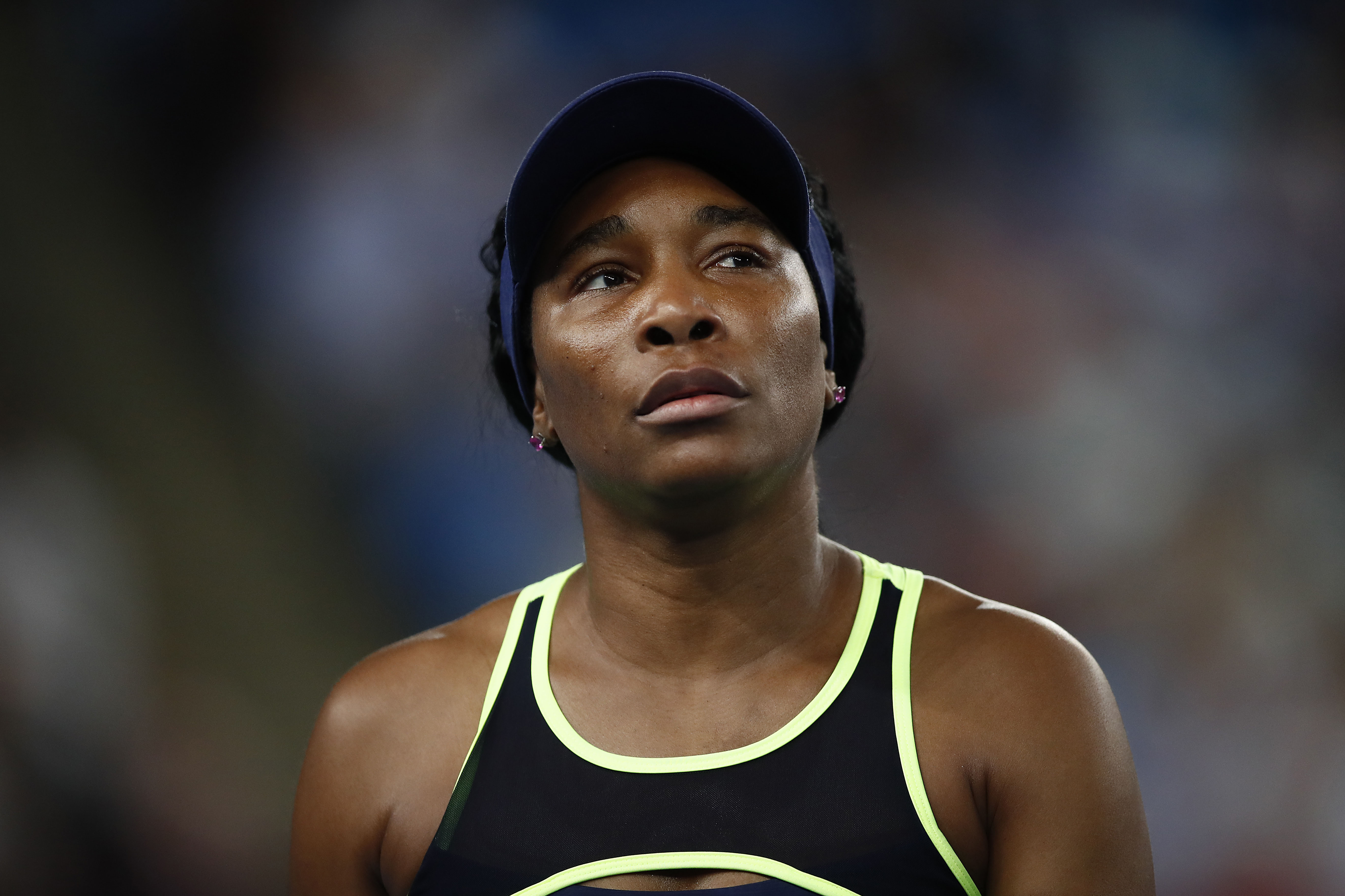 Venus Williams looks on during a match in Melbourne on January 20.