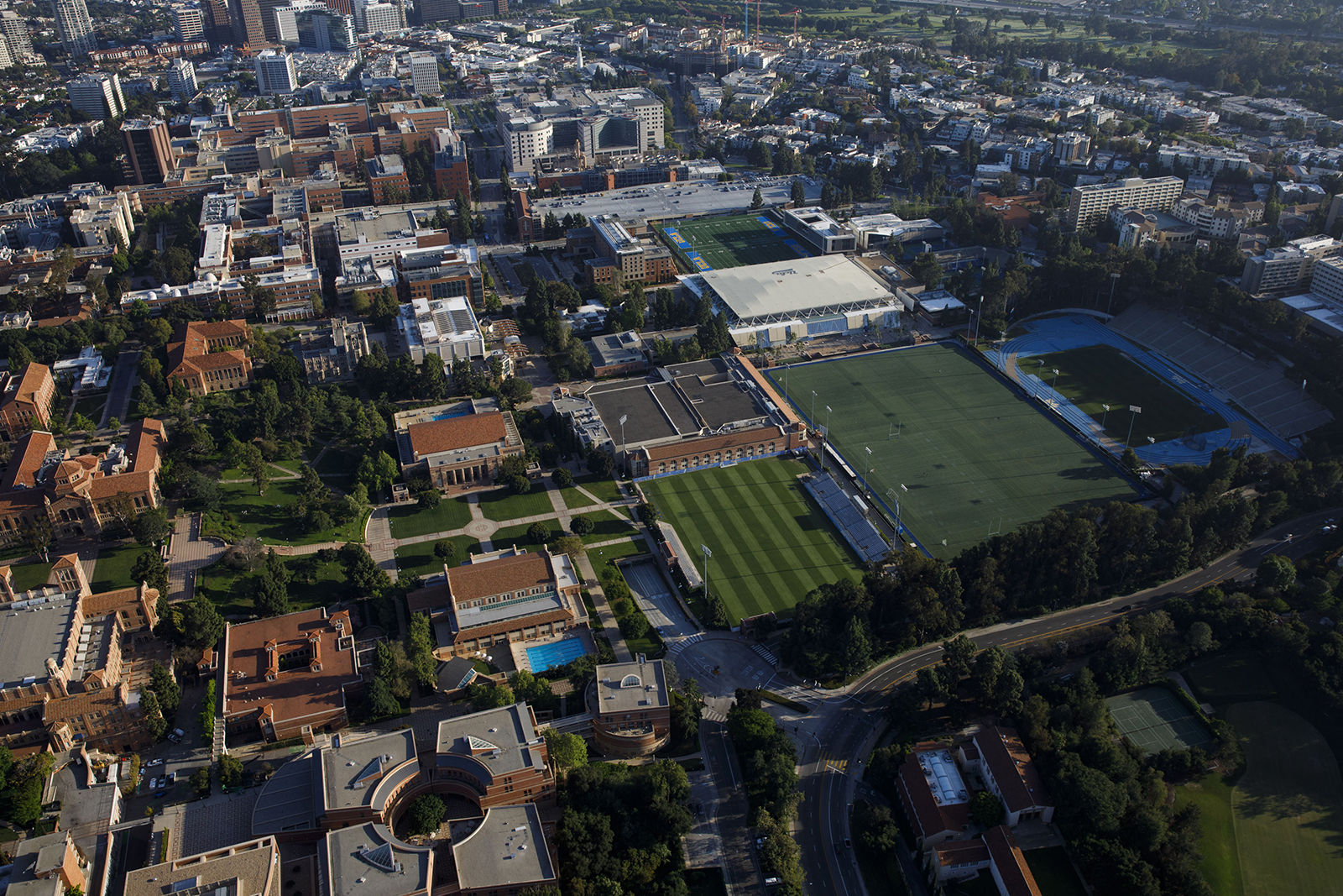 The University of California Los Angeles (UCLA) campus stands empty as seen from above on Friday, May 1.
