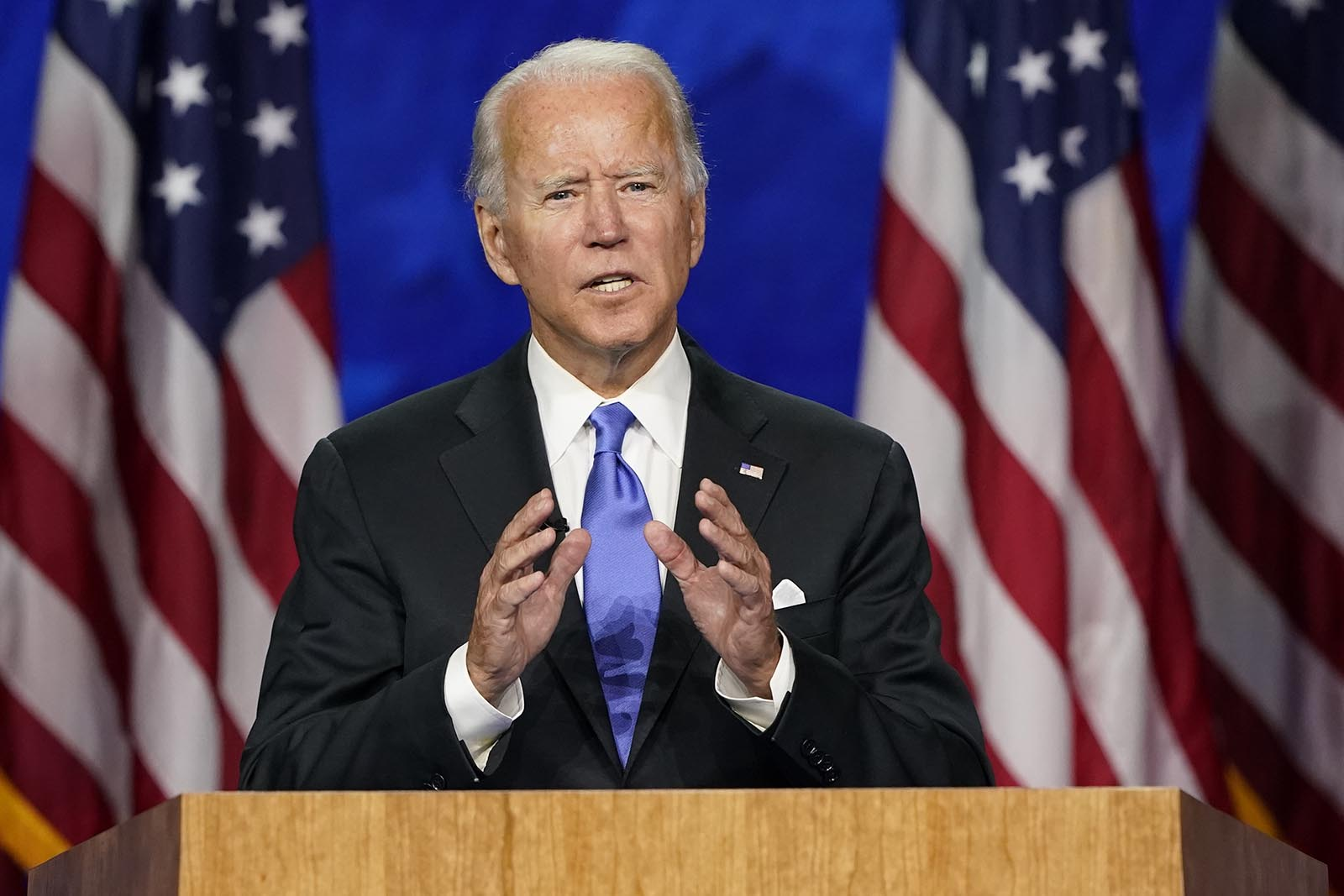 Democratic presidential candidate former Vice President Joe Biden speaks during the fourth day of the Democratic National Convention on Thursday, August 20, in Wilmington, Delaware.