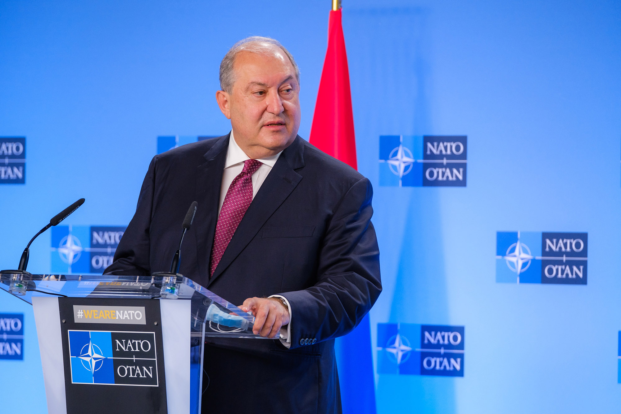 President of Armenia Armen Sarkissian attends a press conference in Brussels, Belgium on October 21, 2020.