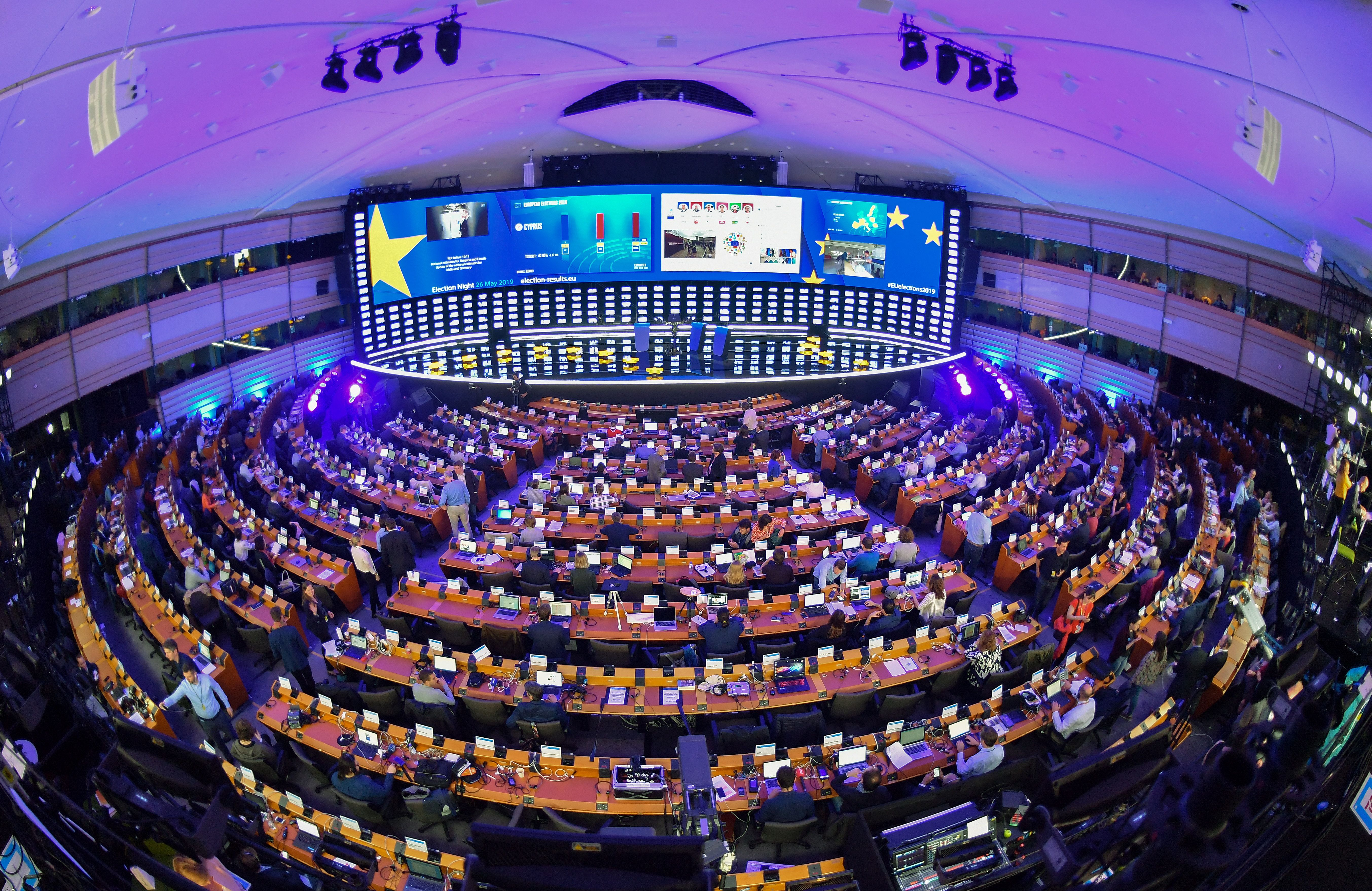 A view of the inside of the European Parliament hemicycle where journalists are attending the European elections results in the European Parliament in Brussels.