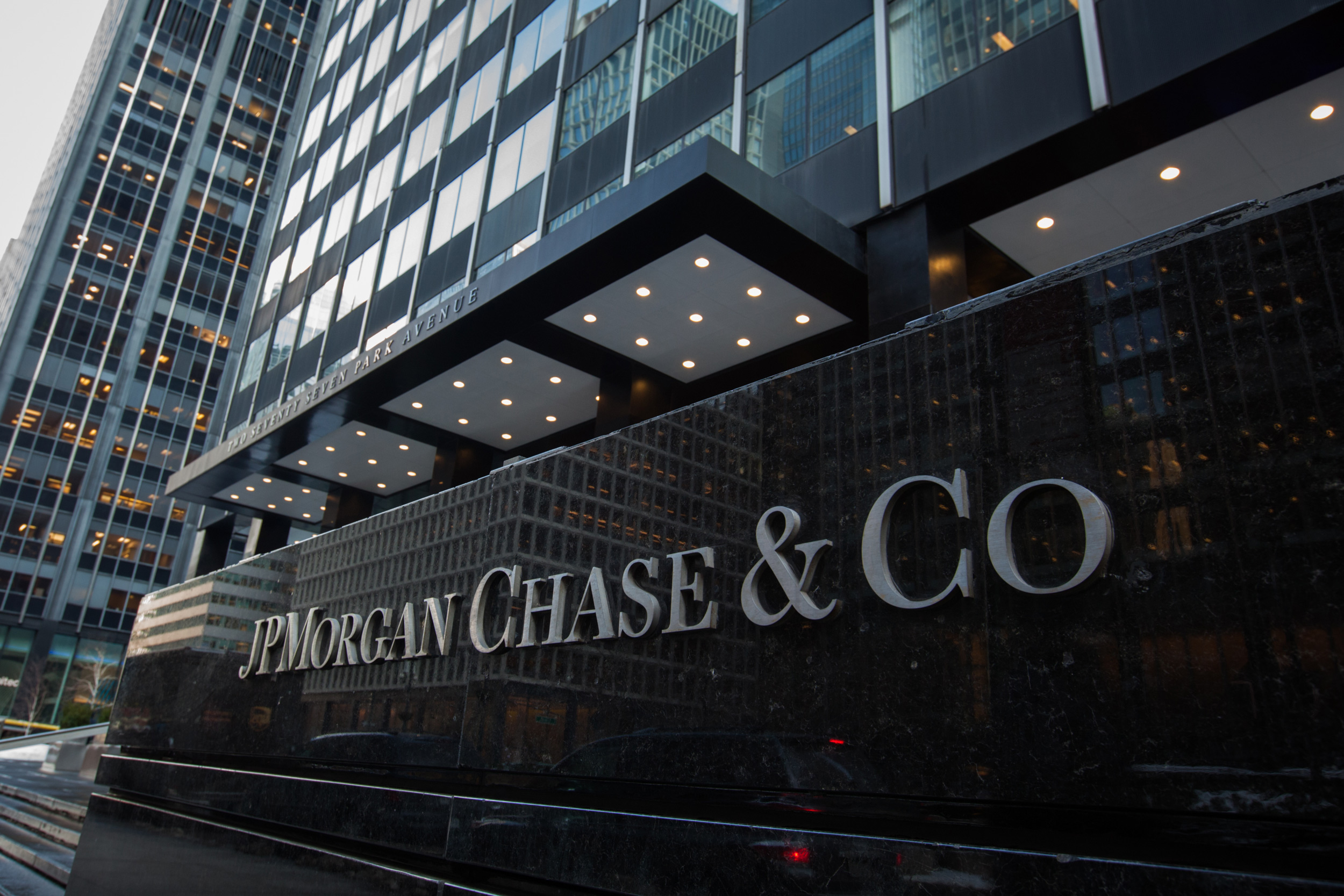 Signage is displayed outside a JPMorgan Chase & Co. office building in New York, on January 9, 2018.