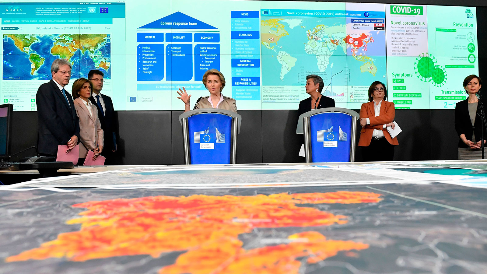 President of the European Commission President Ursula von der Leyen speaks during a press conference at the European Centre for Disease Prevention and Control in Brussels on March 2.