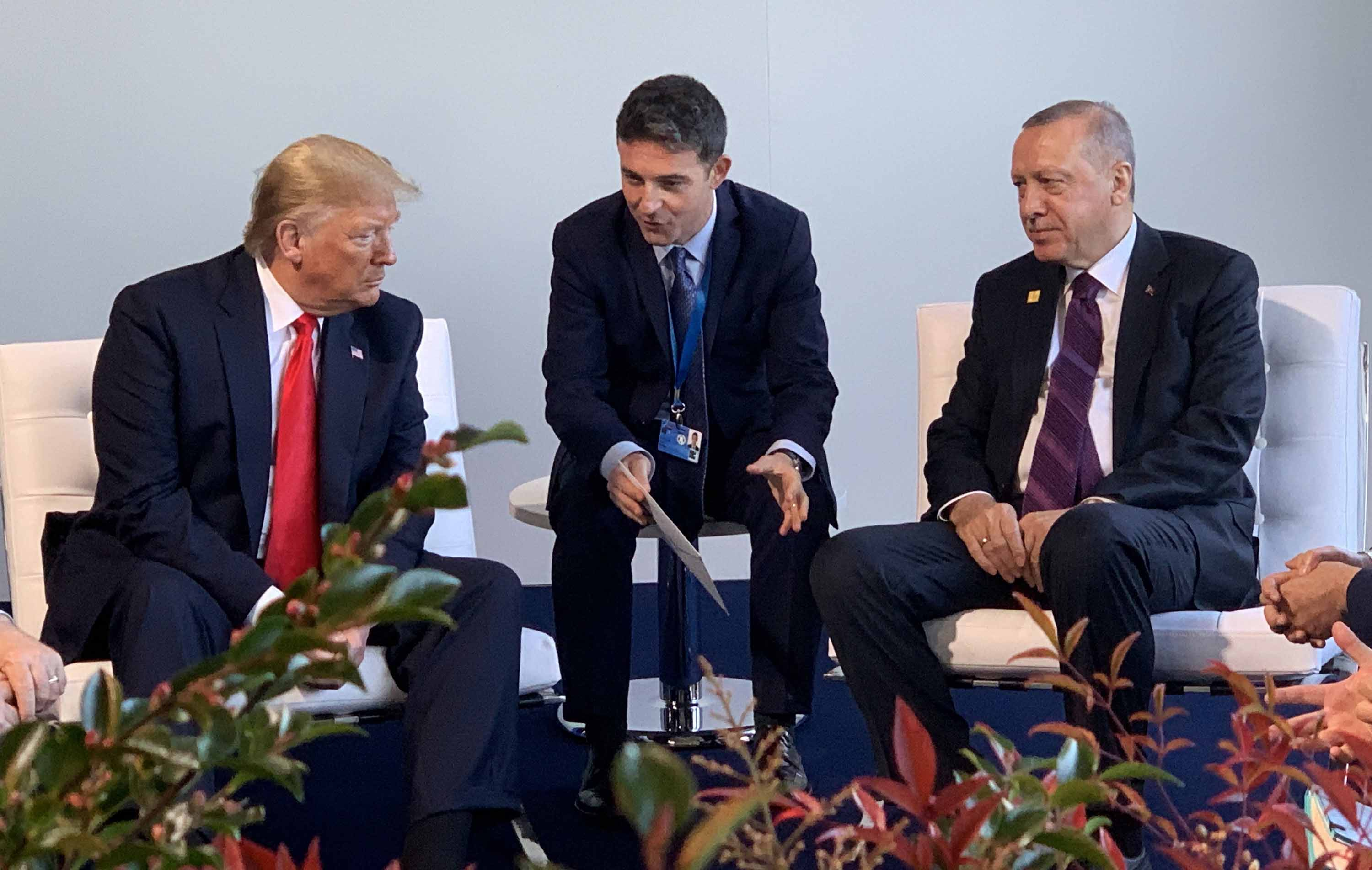 Trump meets with Turkish President Erdogan during the NATO Leaders' Summit on Wednesday. Photo: Handout/Turkish Presidency/Anadolu Agency via Getty Images