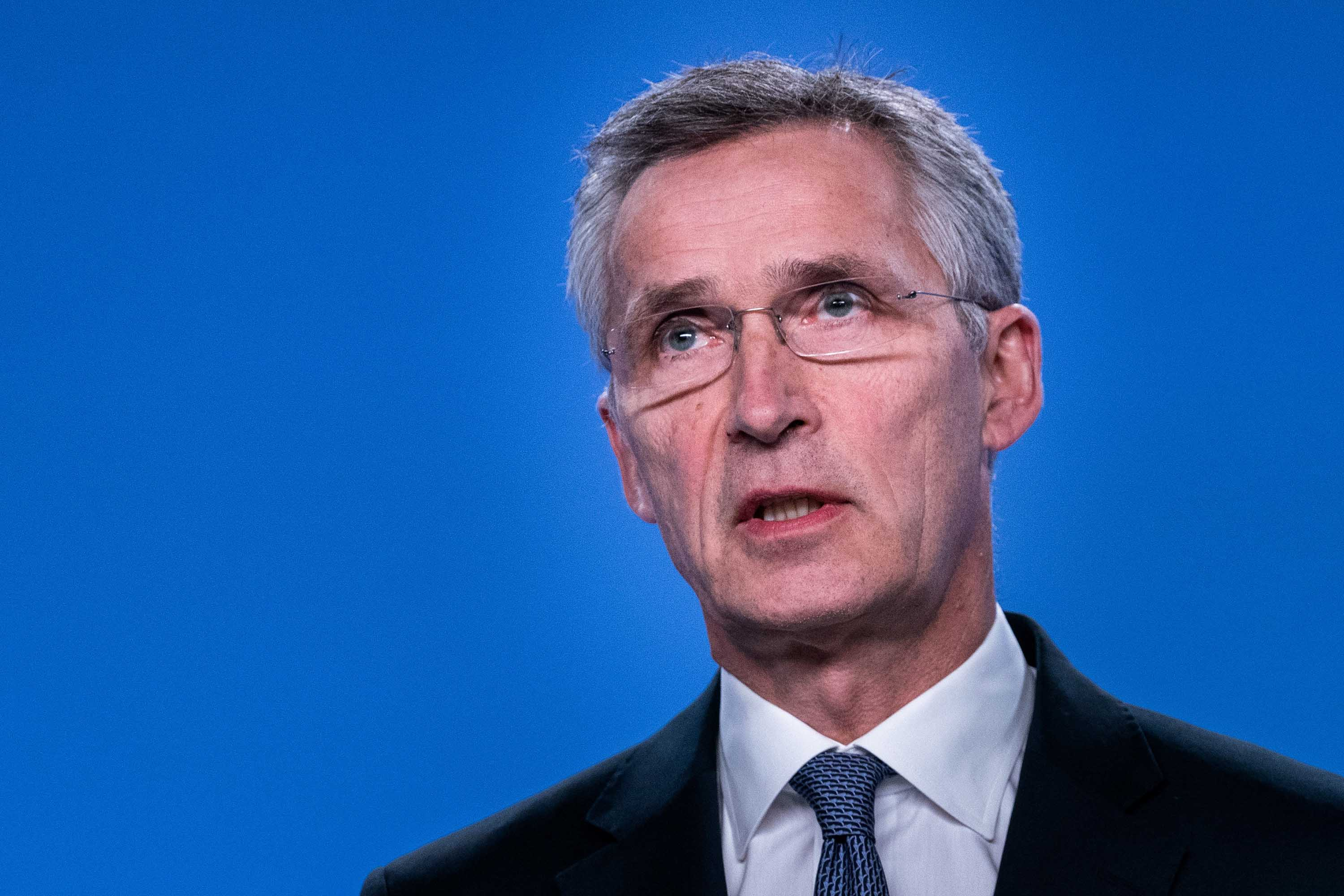 NATO Secretary General Jens Stoltenberg speaks at a press conference on the situation concerning Iran at NATO Headquarters, in Brussels, Belgium on January 6. Credit: Kenzo Tribouillard/AFP via Getty Images