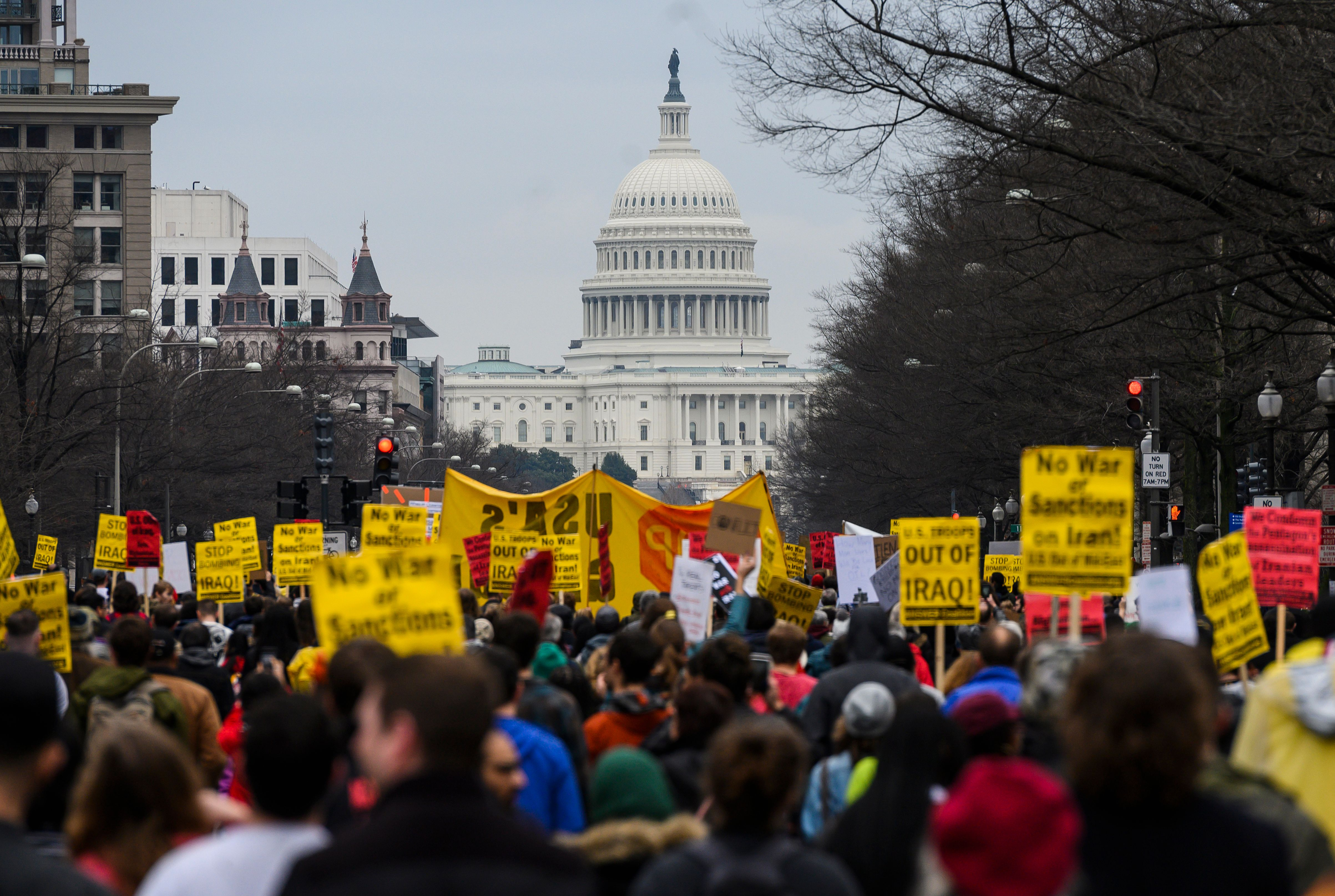 An anti-war march from the White House to the Trump International Hotel in Washington, DC, on January 4, 2020.