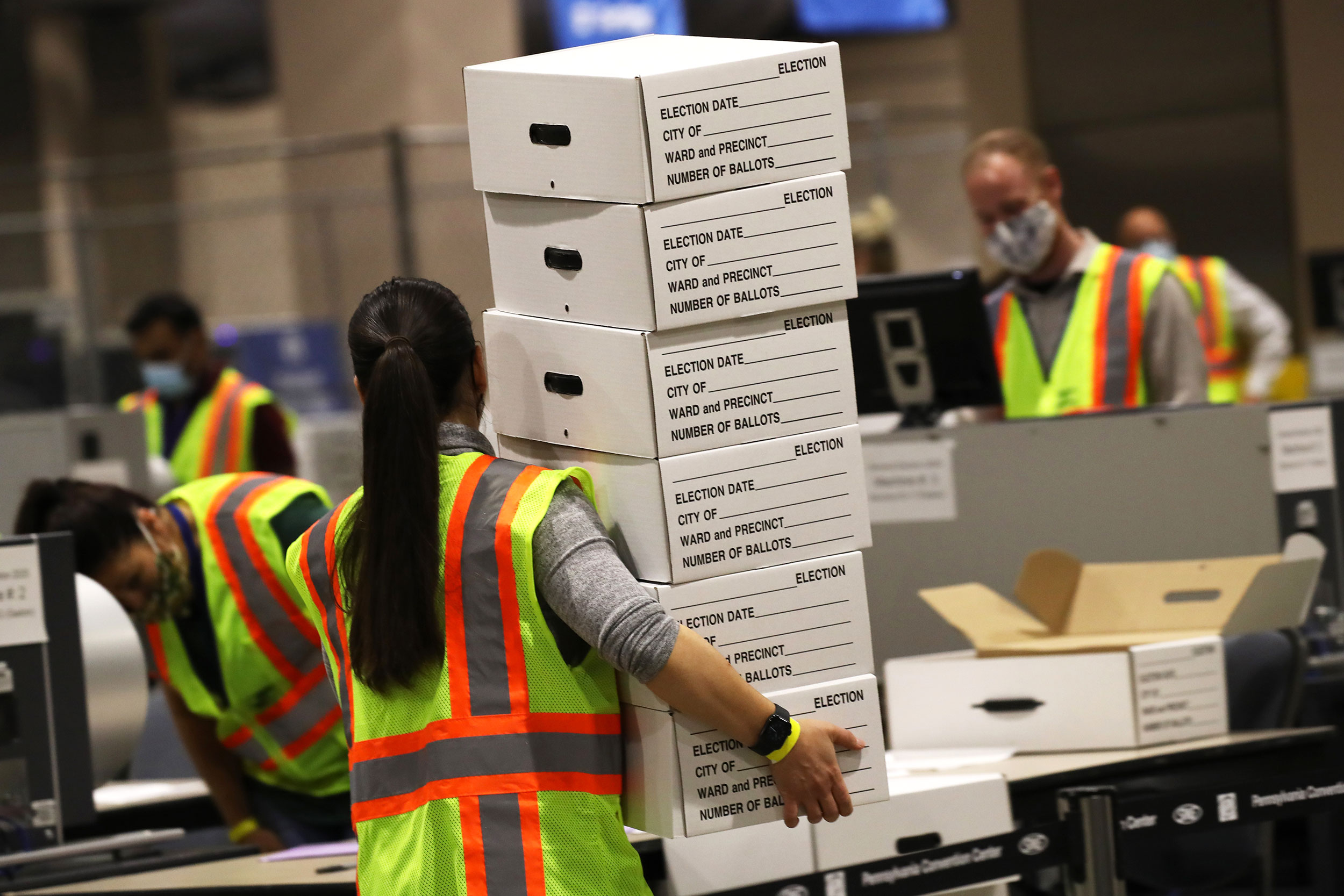 Election workers count ballots on November 4 in Philadelphia, Pennsylvania.