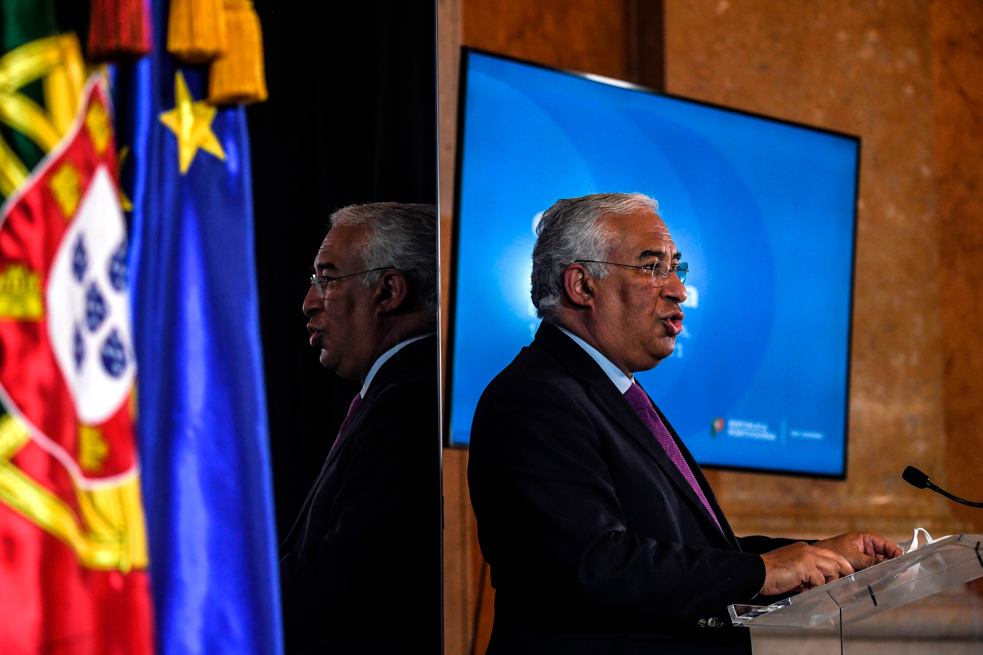 Portugal Prime Minister Antonio Costa holds a press conference at Palacio da Ajuda in Lisbon on January 13.