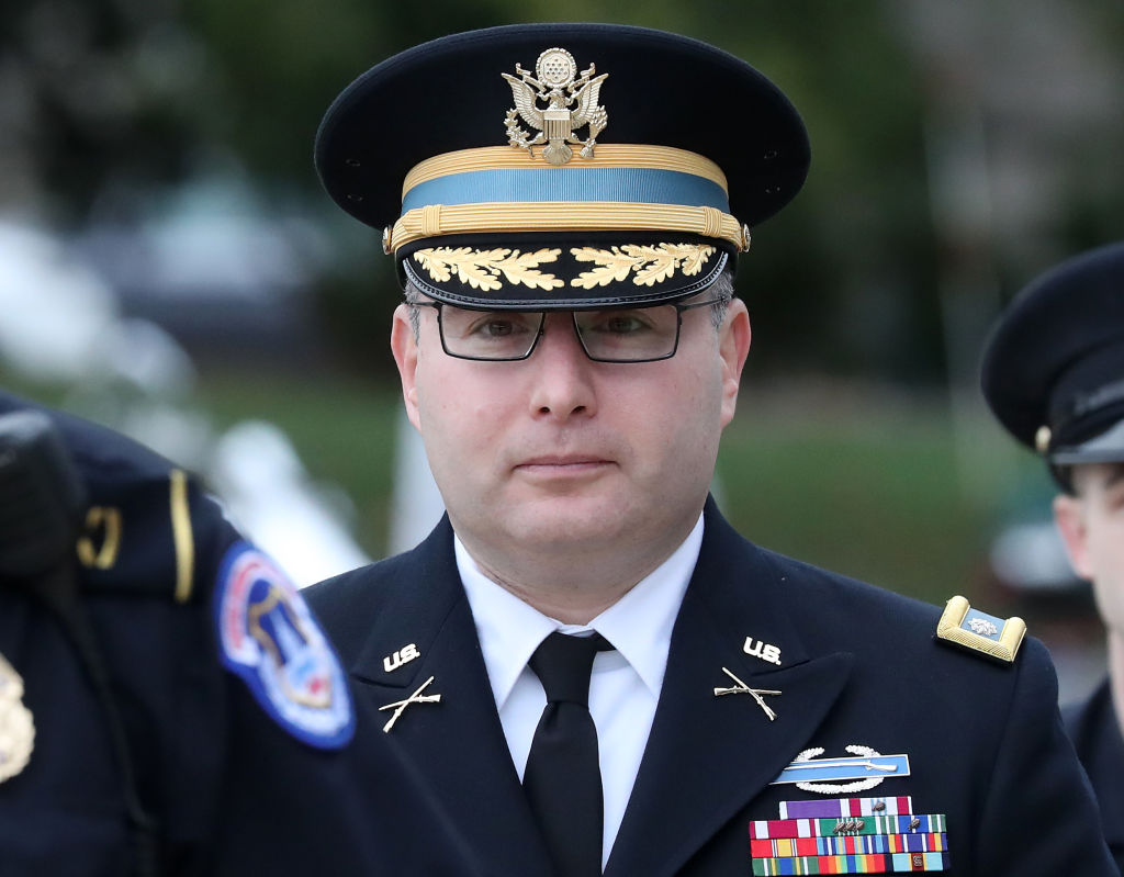 Army Lt. Col. Alexander Vindman, director for European Affairs at the National Security Council, arrives at the U.S. Capitol on Tuesday to testify in the impeachment inquiry