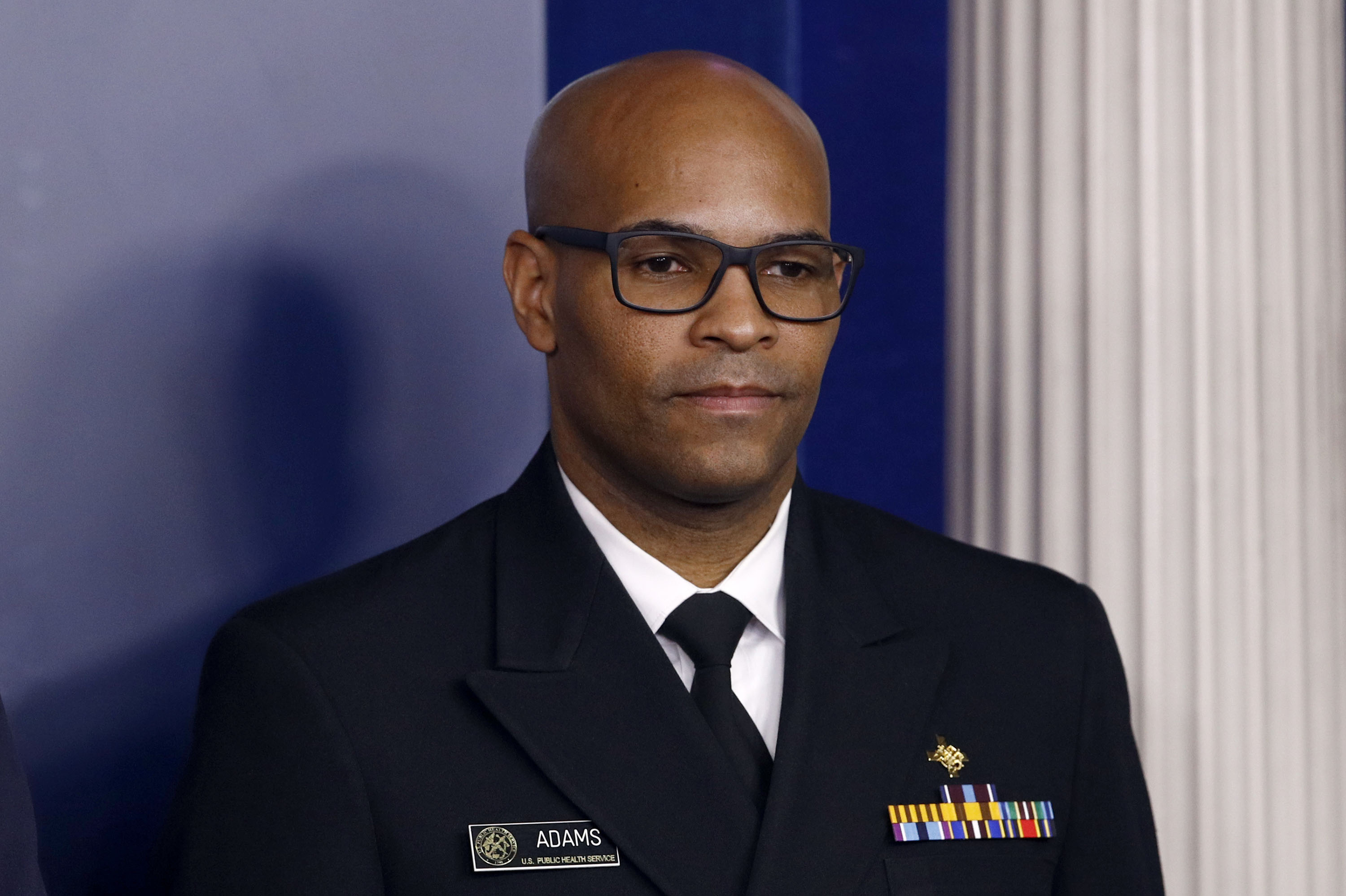 US Surgeon General Dr. Jerome Adams attends a coronavirus task force briefing at the White House on March 22.