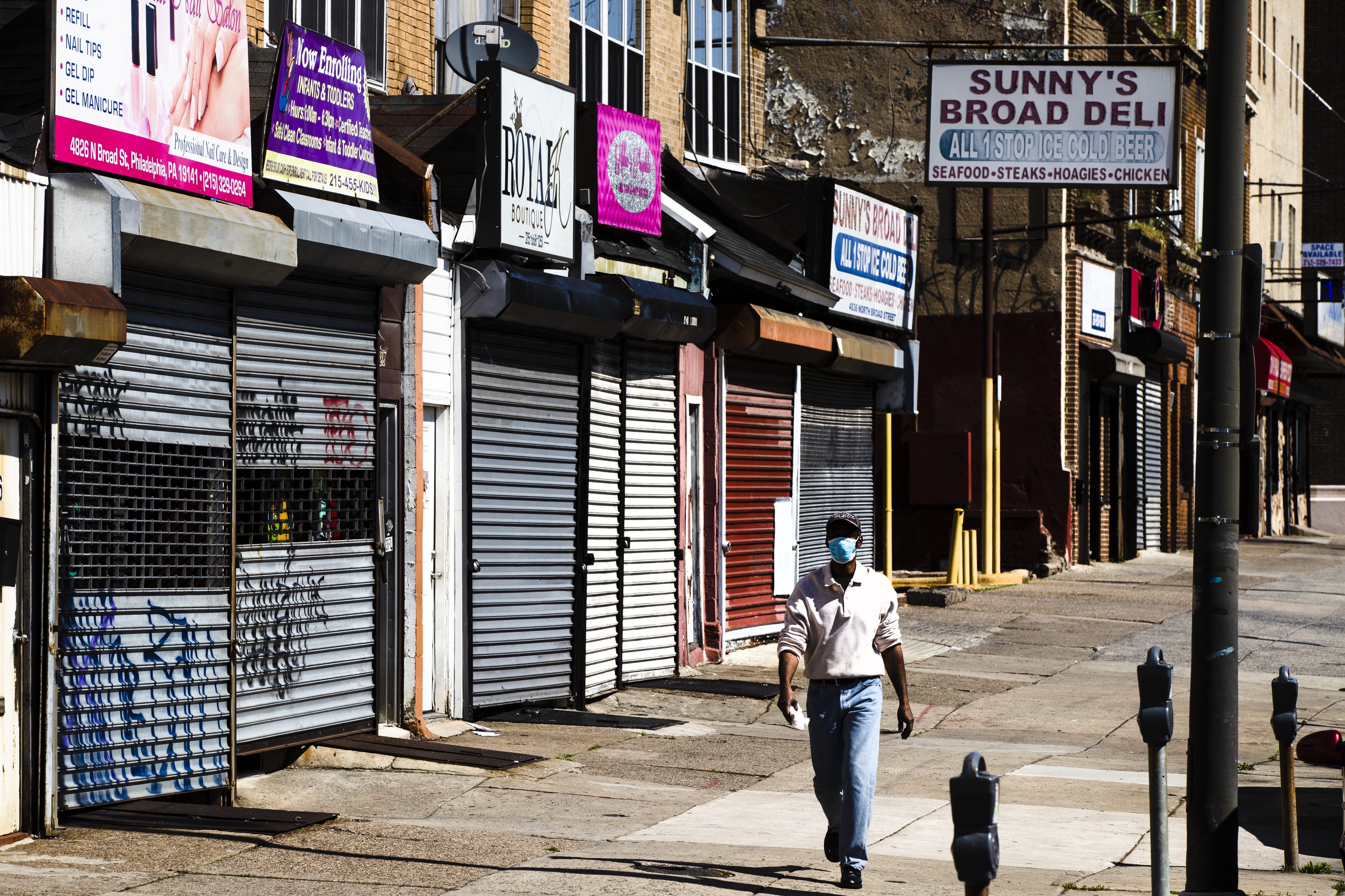 Shuttered businesses are seen in Philadelphia on May 7.