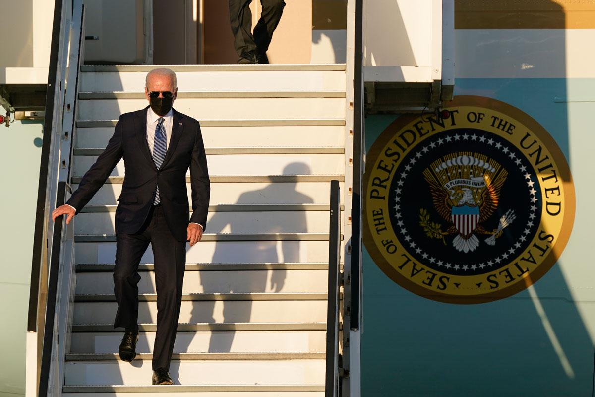 US President Joe Biden steps off Air Force One at Brussels Airport on June 13.