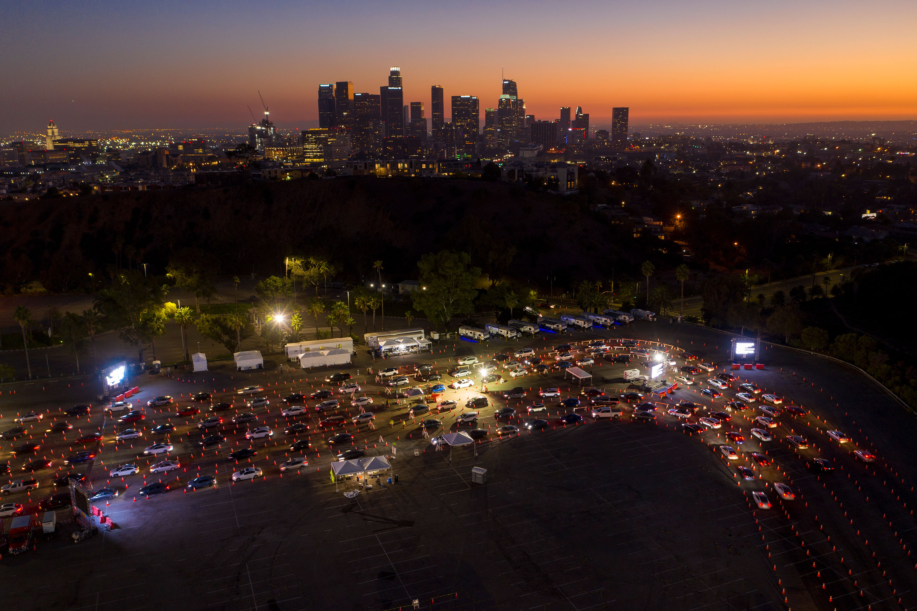 In this image taken from a drone, cars line up at Dodger Stadium in Los Angeles for Covid-19 testing on November 14.