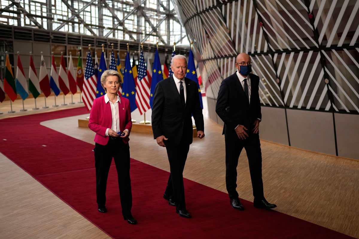 European Commission President Ursula von der Leyen, left, European Council President Charles Michel, right, and US President Joe Biden arrive for the EU-US summit at theEuropa building in Brussels on June 15.