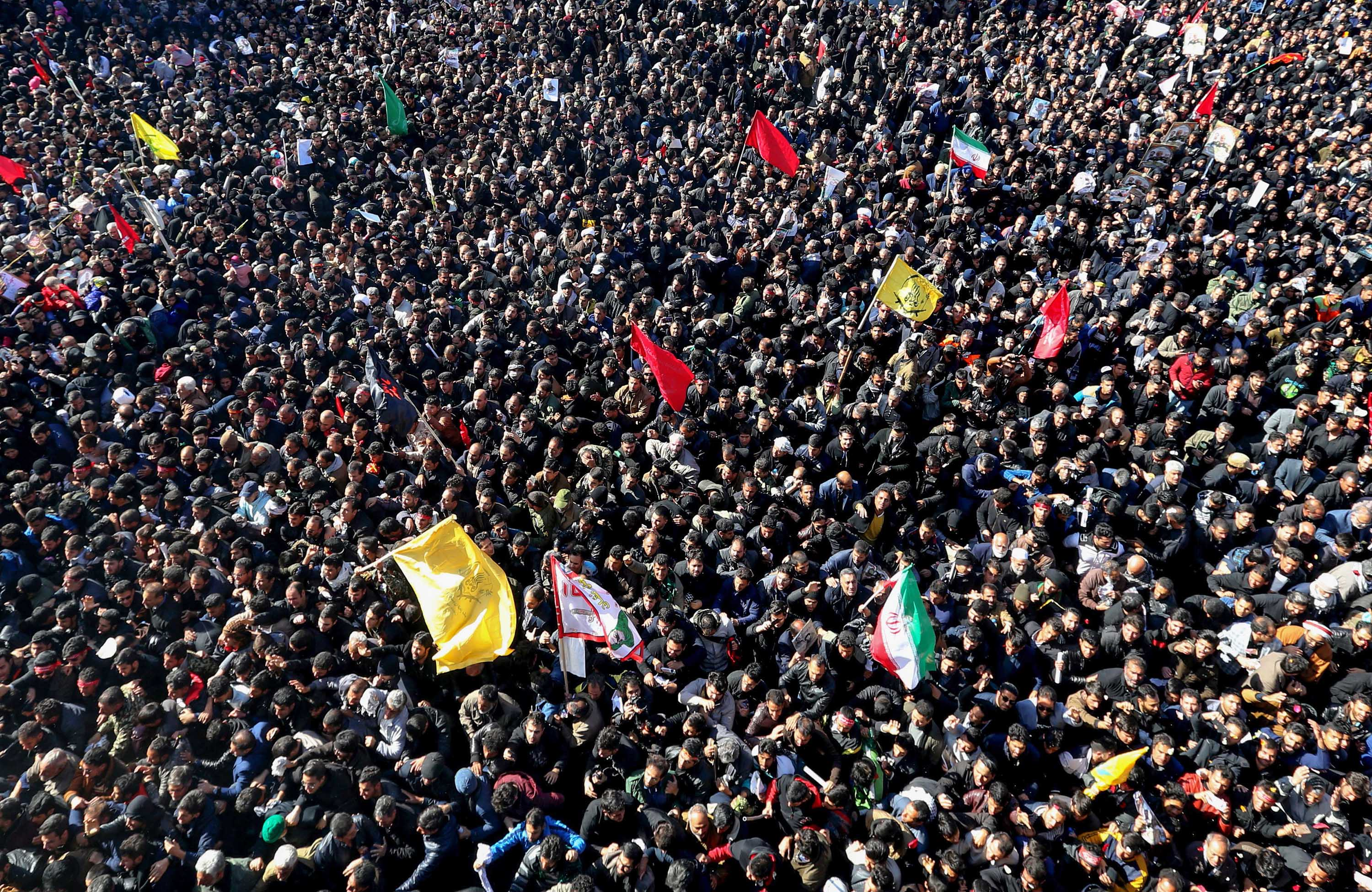 A view of the crowds attending Soleimani's funeral in Kerman in Tuesday. Credit: Atta Kenare/AFP via Getty Images