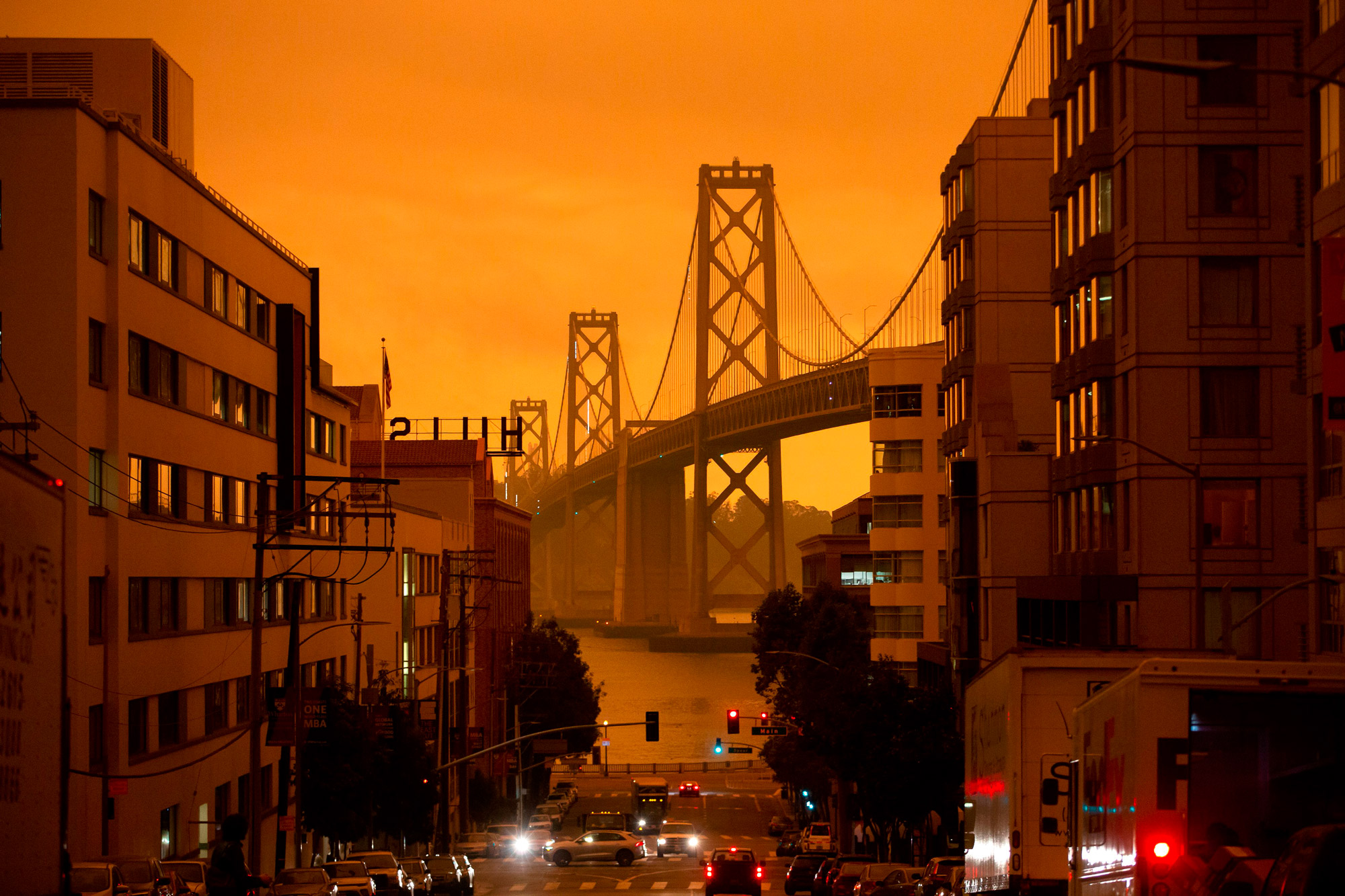 The San Francisco Bay Bridge is seen along Harrison Street under a smoke-filled sky in San Francisco, California, on September 9.