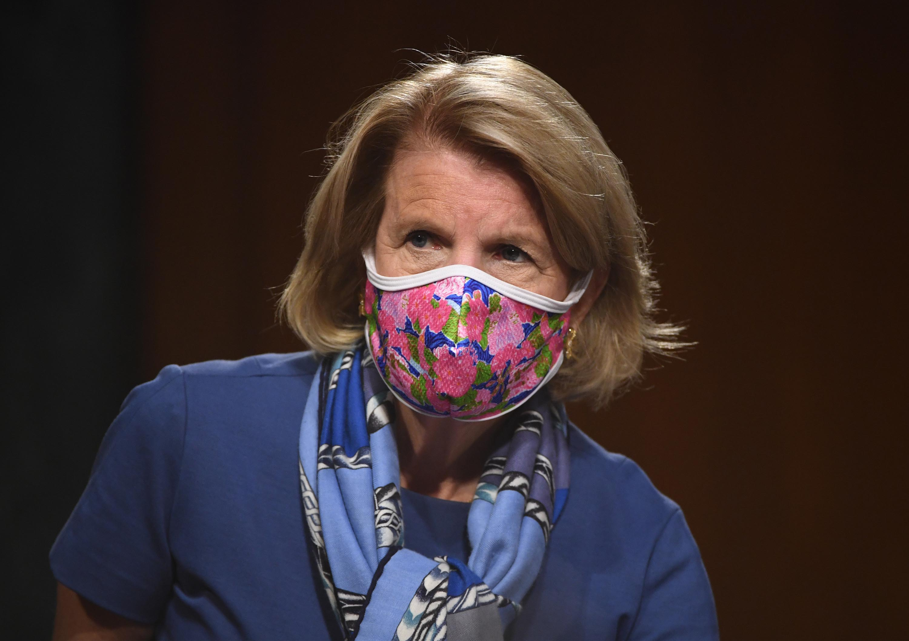 Sen. Shelley Moore Capito (R-WV) attends a hearing in the Dirksen Senate Office Building in May 2020 in Washington, DC.