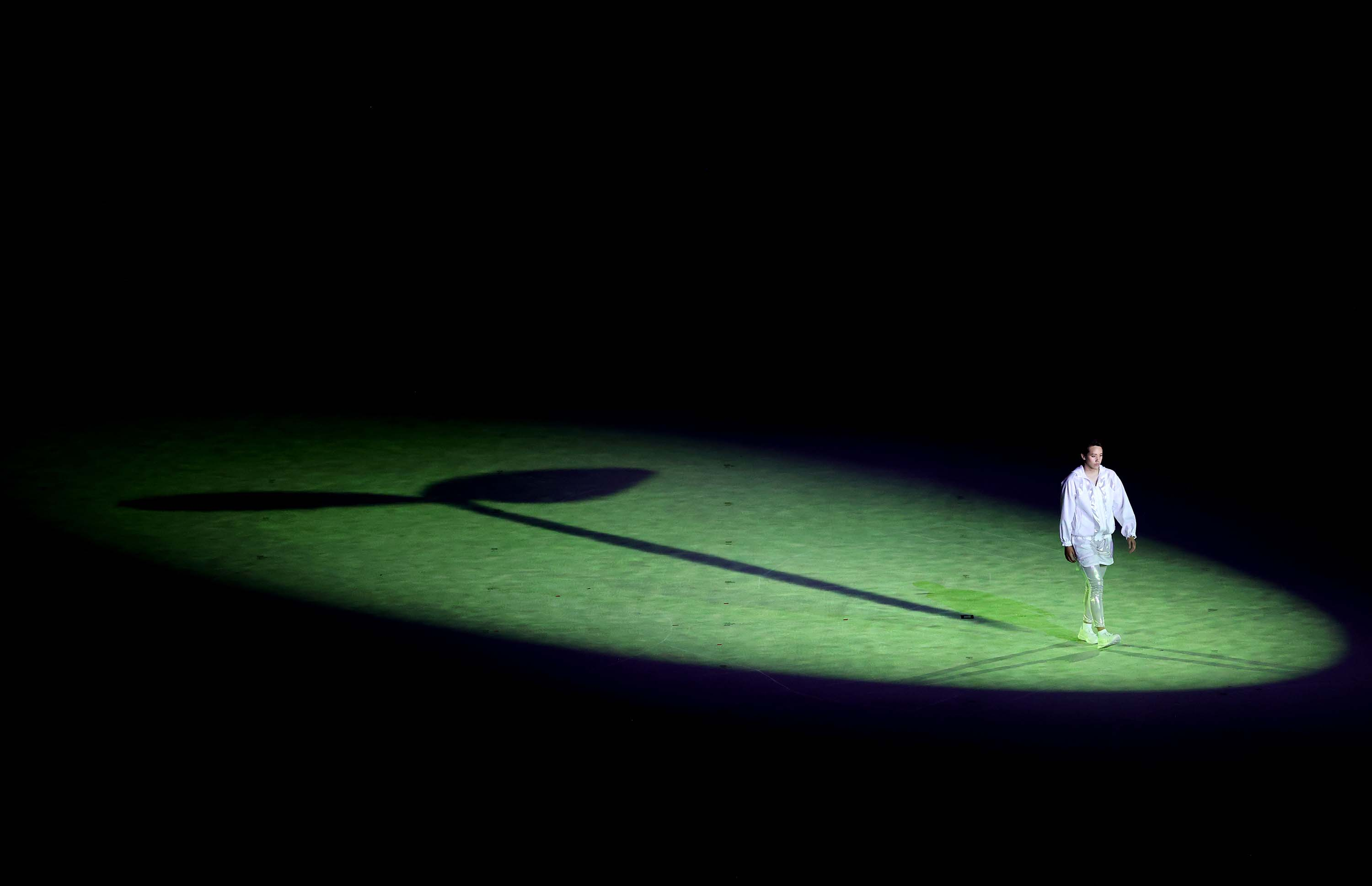 A performer is seen acting during the opening ceremony of the Tokyo 2020 Olympic Games on July 23.