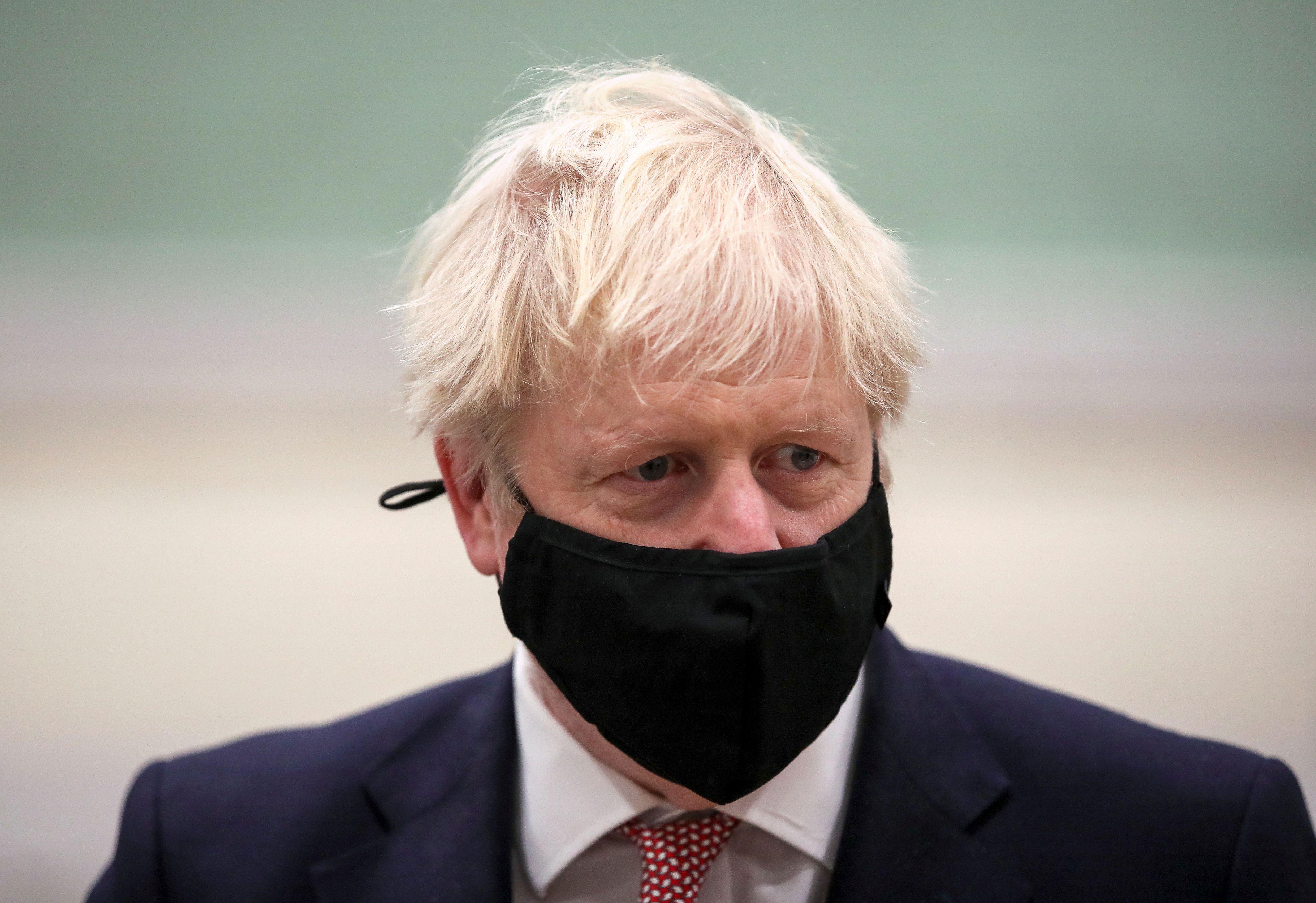 UK Prime Minister Boris Johnson visits the East Midlands region in England on November 6.