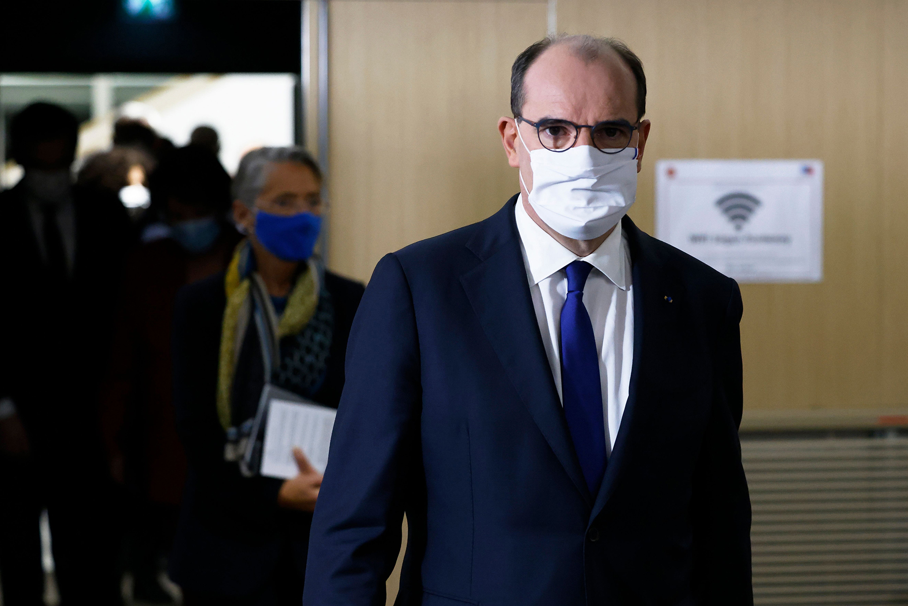 France Prime Minister Jean Castex arrives for apress conference in Paris on January 14, on the current French government strategy for the ongoing coronavirus (Covid-19) pandemic.