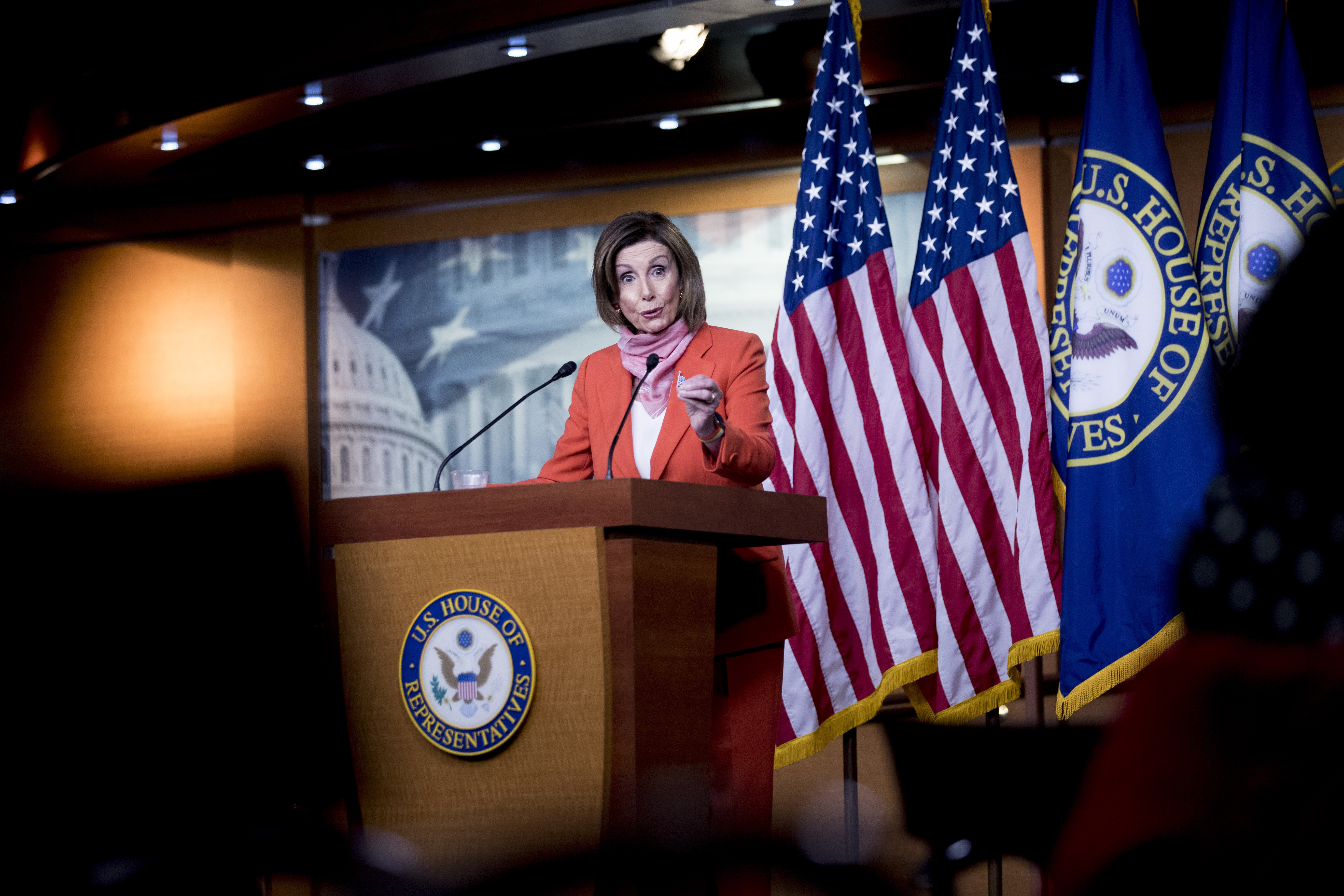 House Speaker Nancy Pelosi speaks during a news conference on Capitol Hill on April 24.