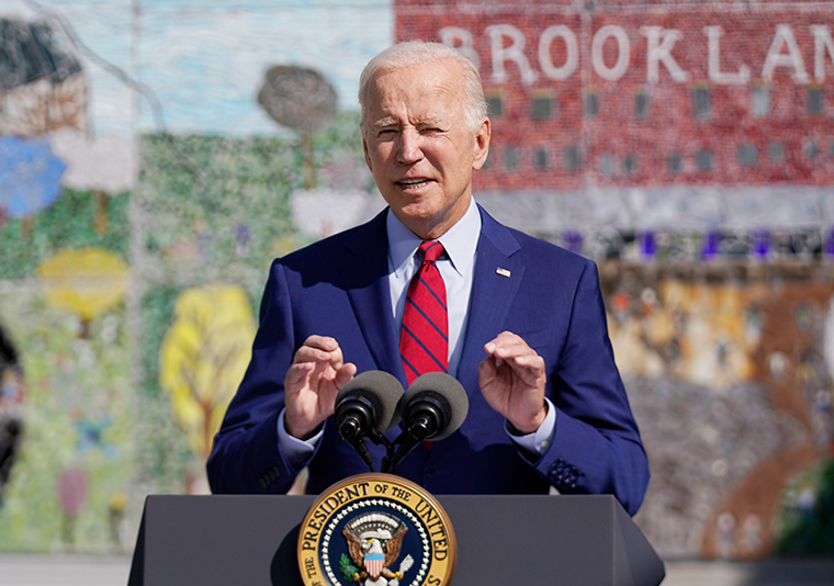 President Joe Biden speaks at Brookland Middle School, Friday, Sept. 10, 2021 in Washington. Biden has encouraged every school district to promote vaccines, including with on-site clinics, to protect students as they return to school amid a resurgence of the coronavirus.