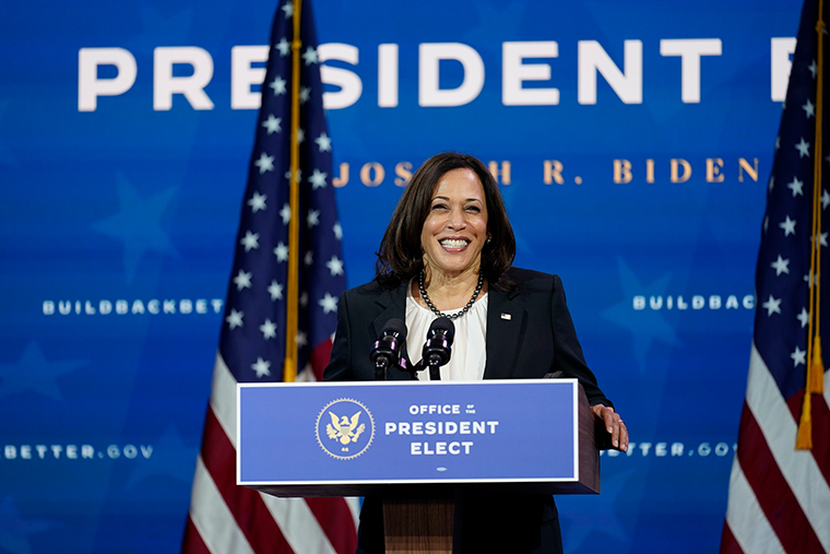 Vice President-elect Kamala Harris on Dec. 1, 2020, in Wilmington, Del.