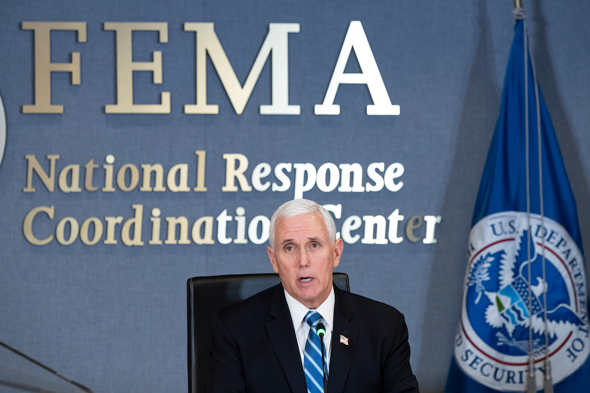 Vice President Mike Pence speaks as he leads a video teleconference with governors about the coronavirus during a trip to FEMA on Monday, March 23, in Washington.