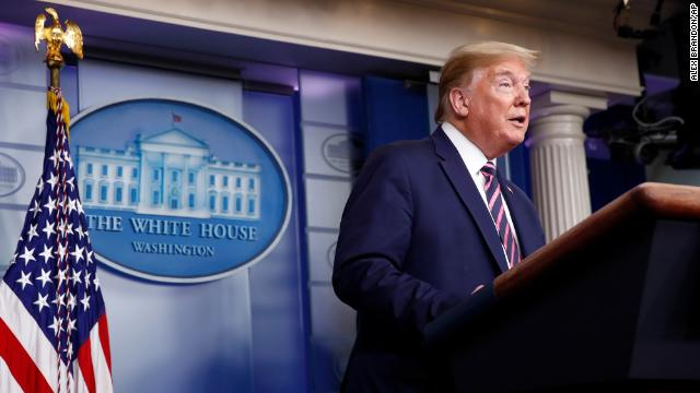 US President Donald Trump at a daily press briefing.