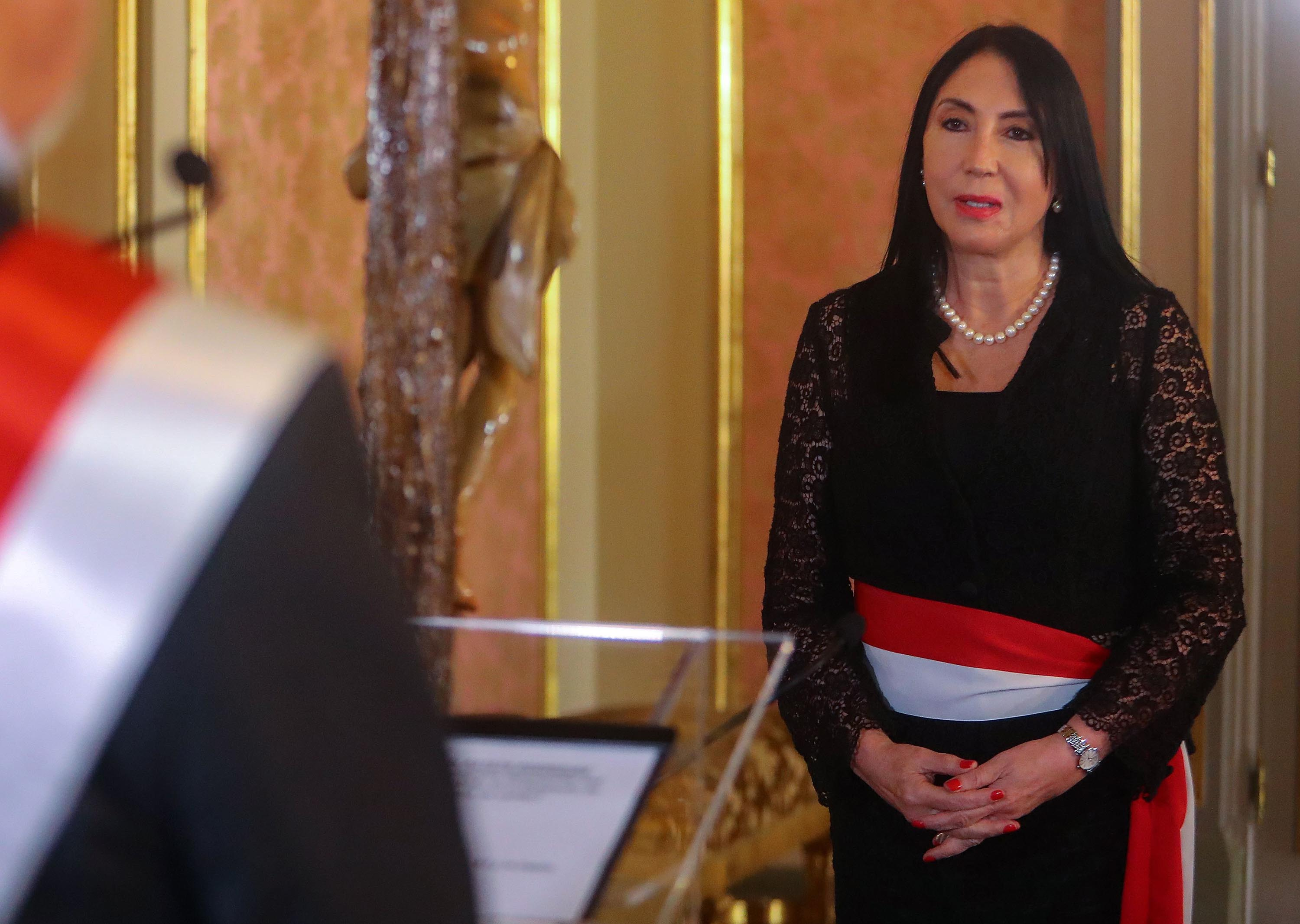 In this photo released by the Peruvian presidency, then Foreign Minister Elizabeth Astete is pictured during the inauguration ceremony of the new cabinet of President Francisco Sagasti, at the presidential palace in Lima, Peru, on November 18, 2020.