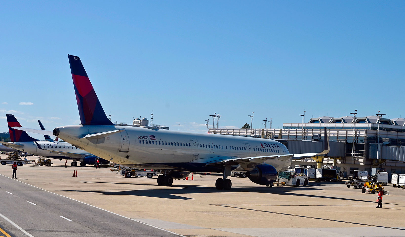 A Delta airlines plane parked at a gate at Ronald Reagan Washington National Airport on September 22, 2020.