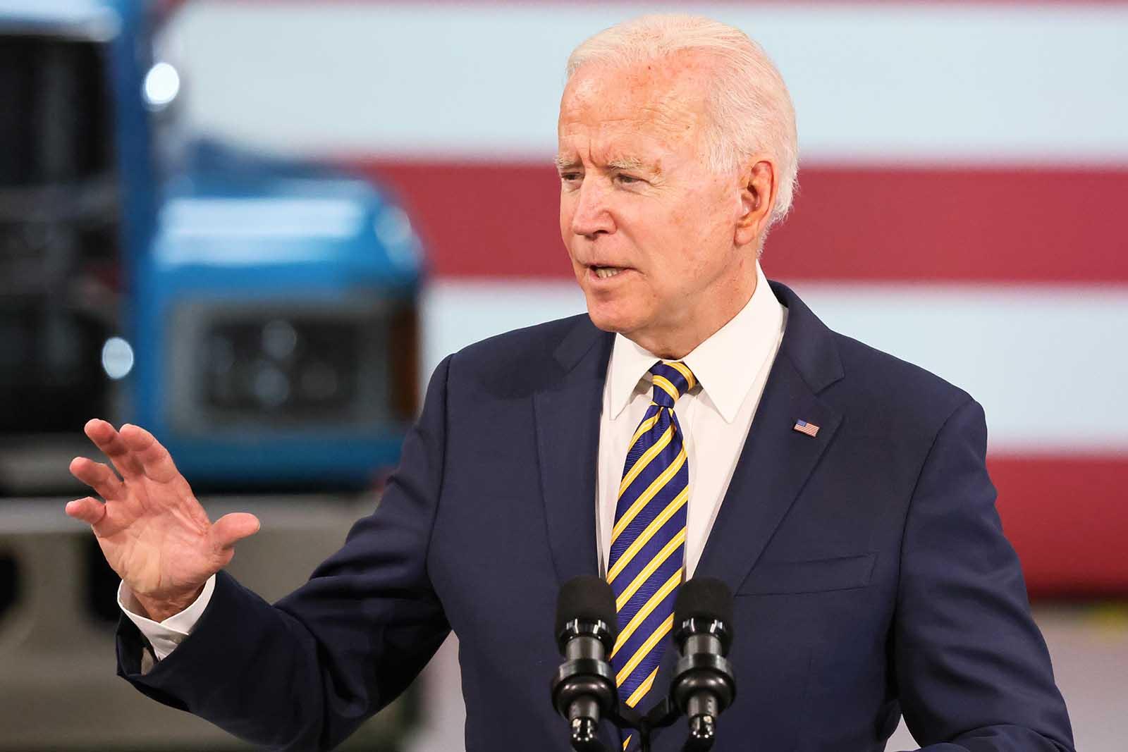 President Joe Biden speaks in Macungie, Pennsylvania, on July 28.