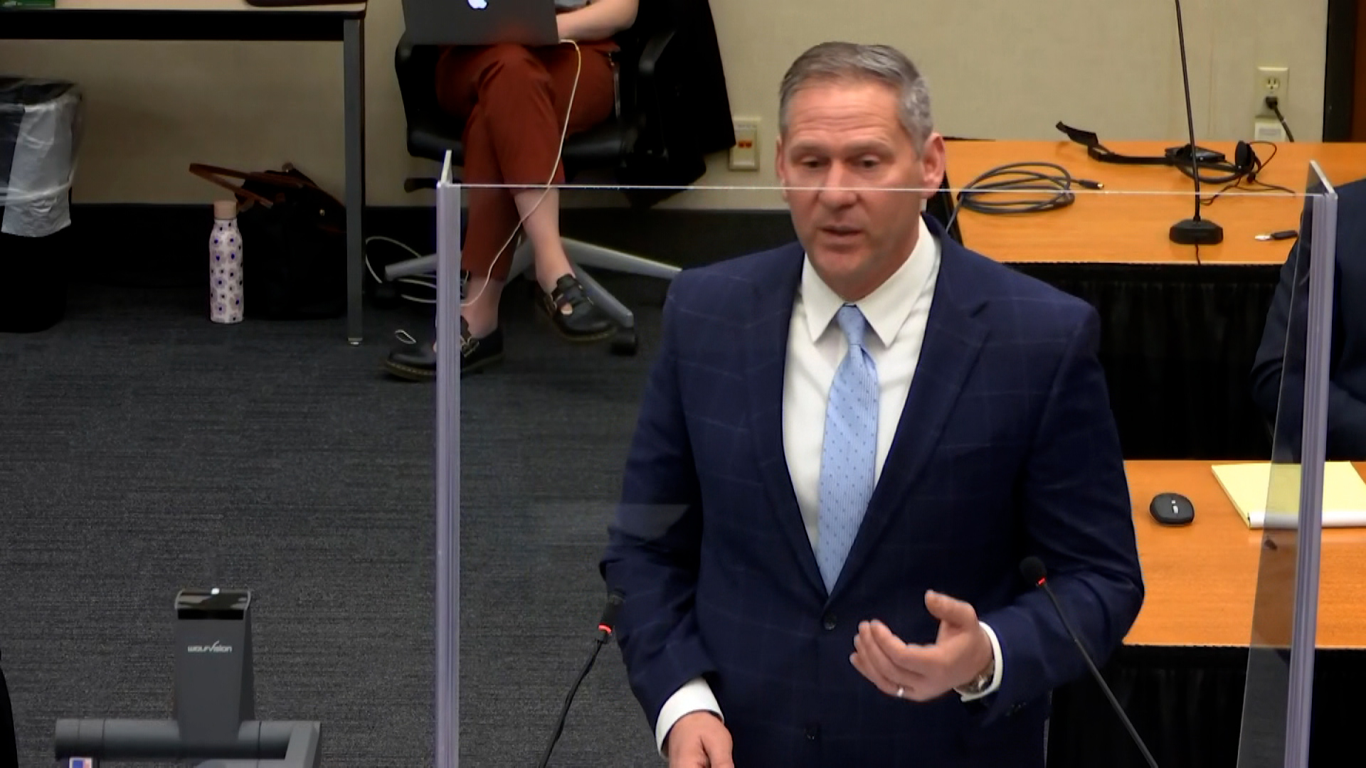Prosecutor Steve Schleicher delivers the state's closing arguments on April 19.