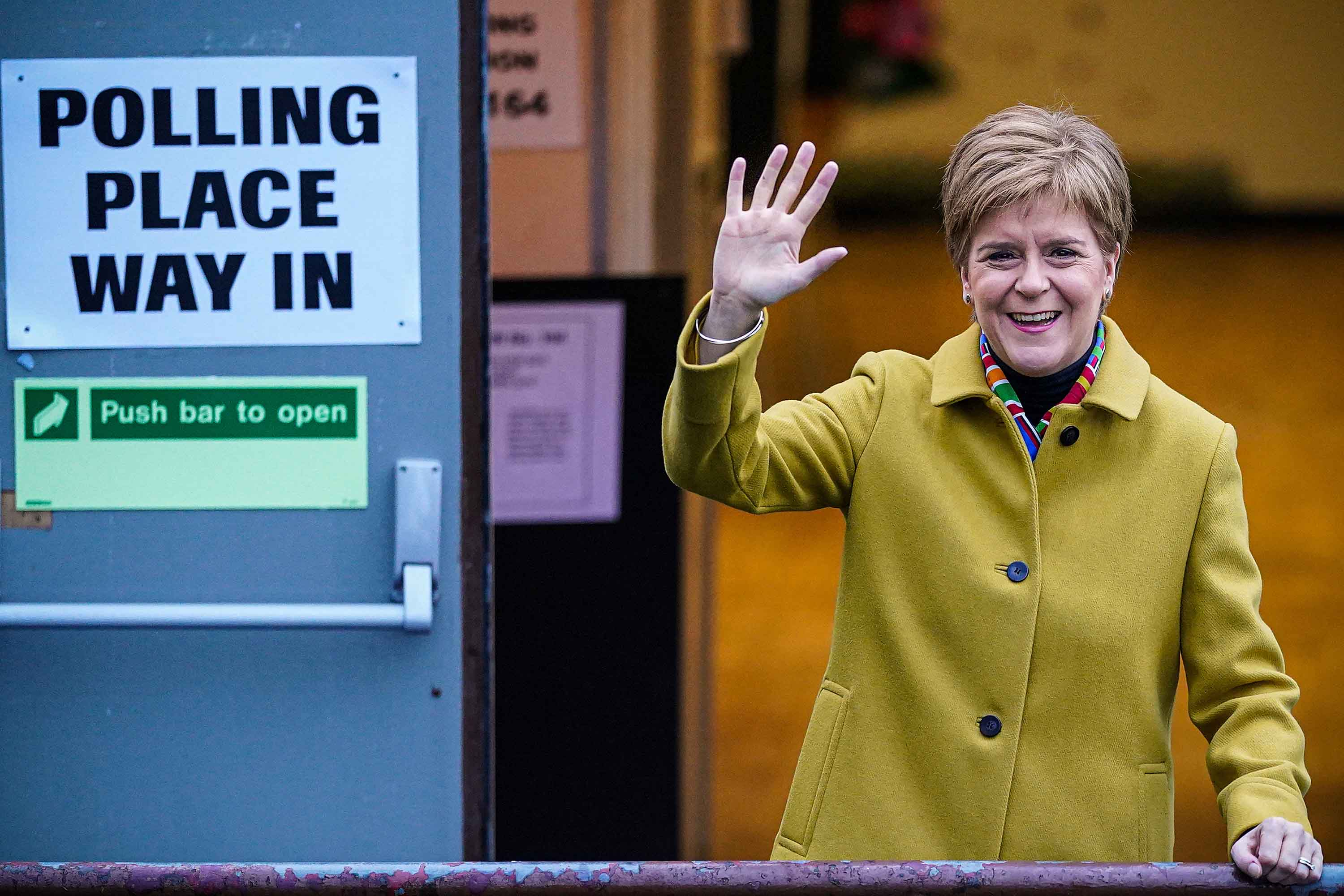 First Minister of Scotland and leader of the SNP Nicola Sturgeon votes in Glasgow, Scotland on Thursday. Photo: Jeff J Mitchell/Getty Images