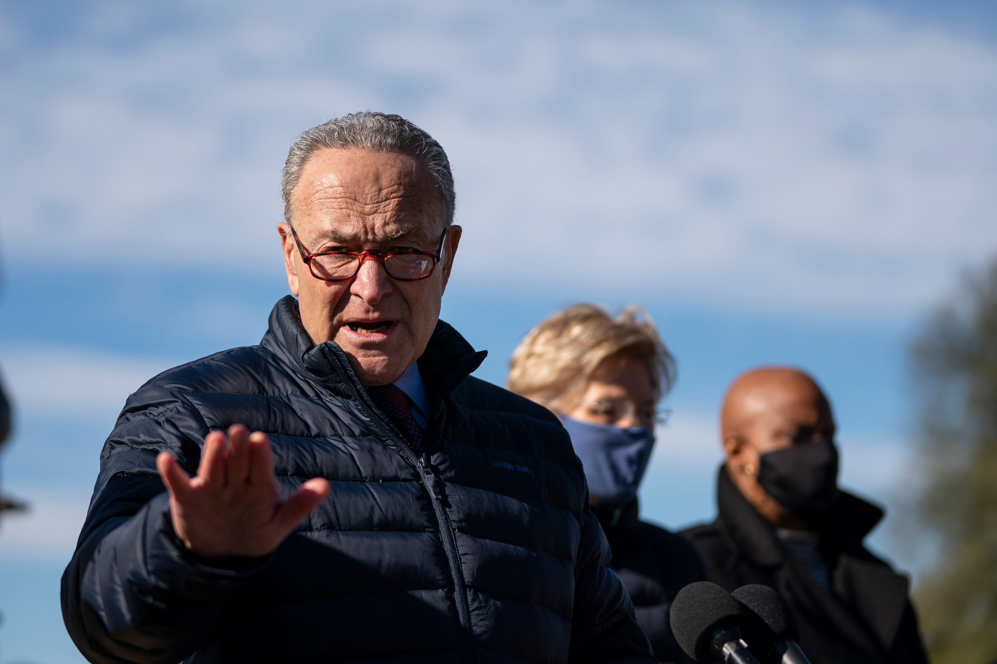 Senate Majority Leader Chuck Schumer speaks during a press conference outside the U.S. Capitol on February 4 in Washington, DC.