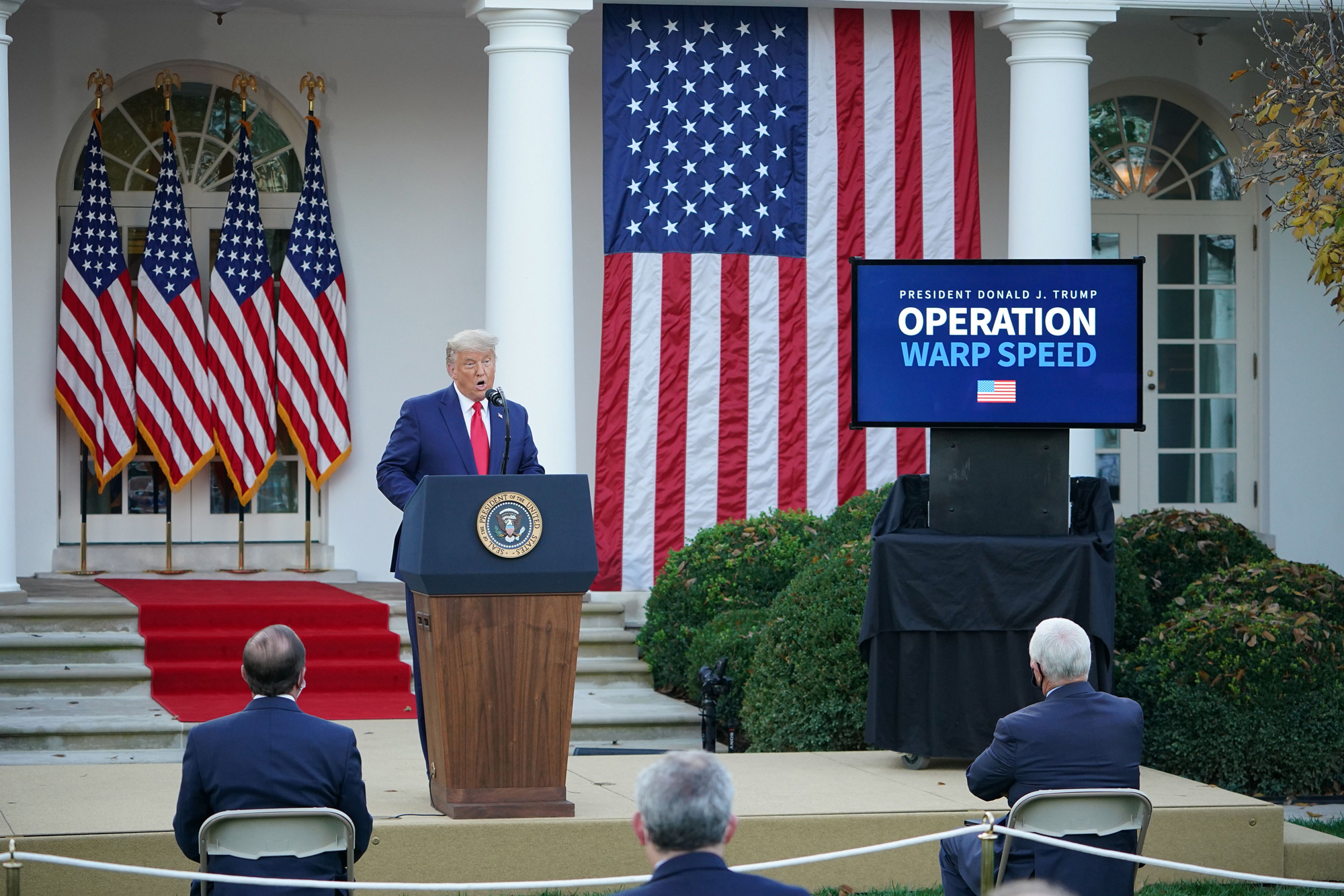 "President Donald Trump delivers an update on ""Operation Warp Speed"" in the Rose Garden of the White House in Washington, DC, on November 13."