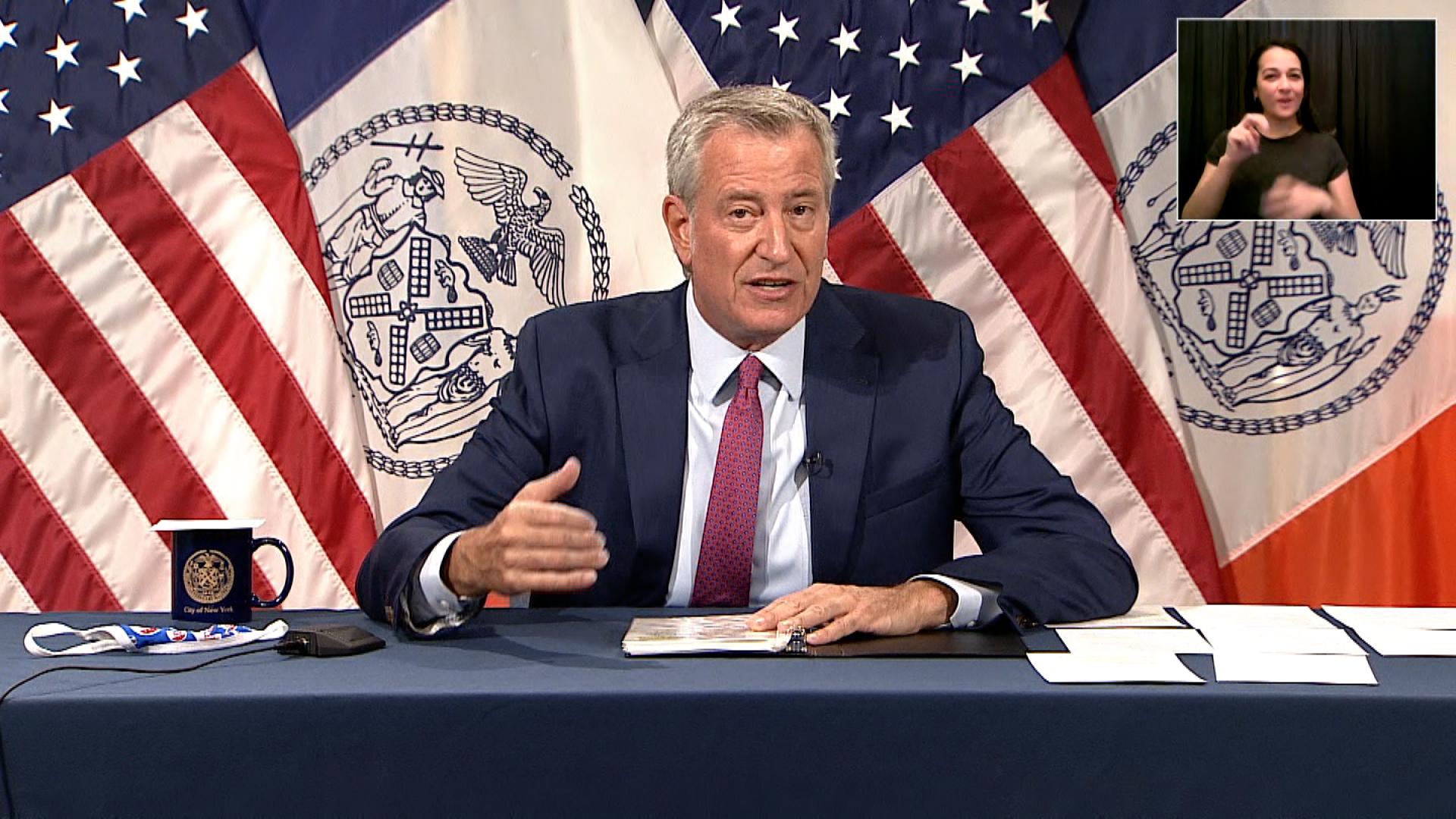 New York City Mayor Bill de Blasio speaks during a press briefing in New York on August 3.
