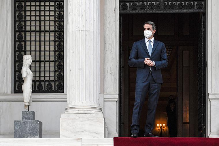 Greek Prime minister Kyriakos Mitsotakis in Athens on April 14, 2021.